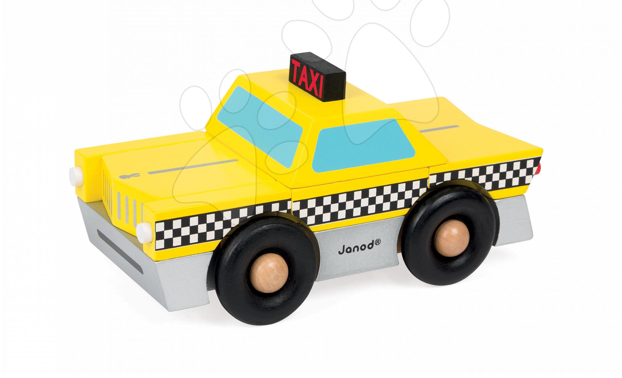 Dřevěná magnetická skládačka auto taxi Kit Magnet Janod 9 dílů od 24 měsíců