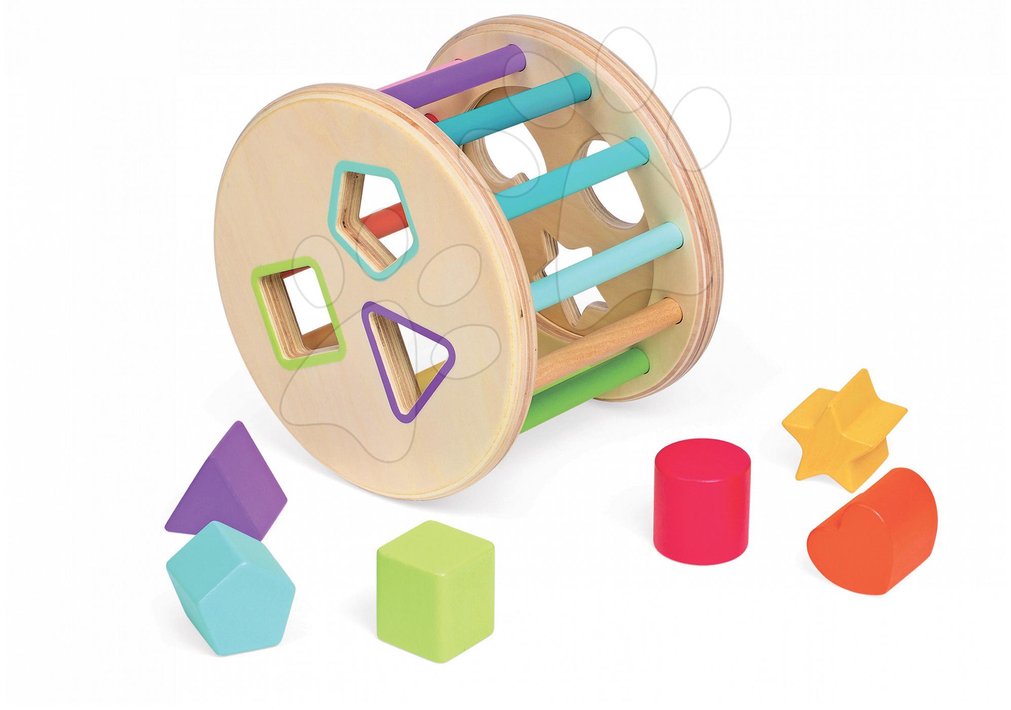 Dřevěná magnetická vkládačka buben I Wood Janod Učíme se tvary a barvy od 18 měsíců