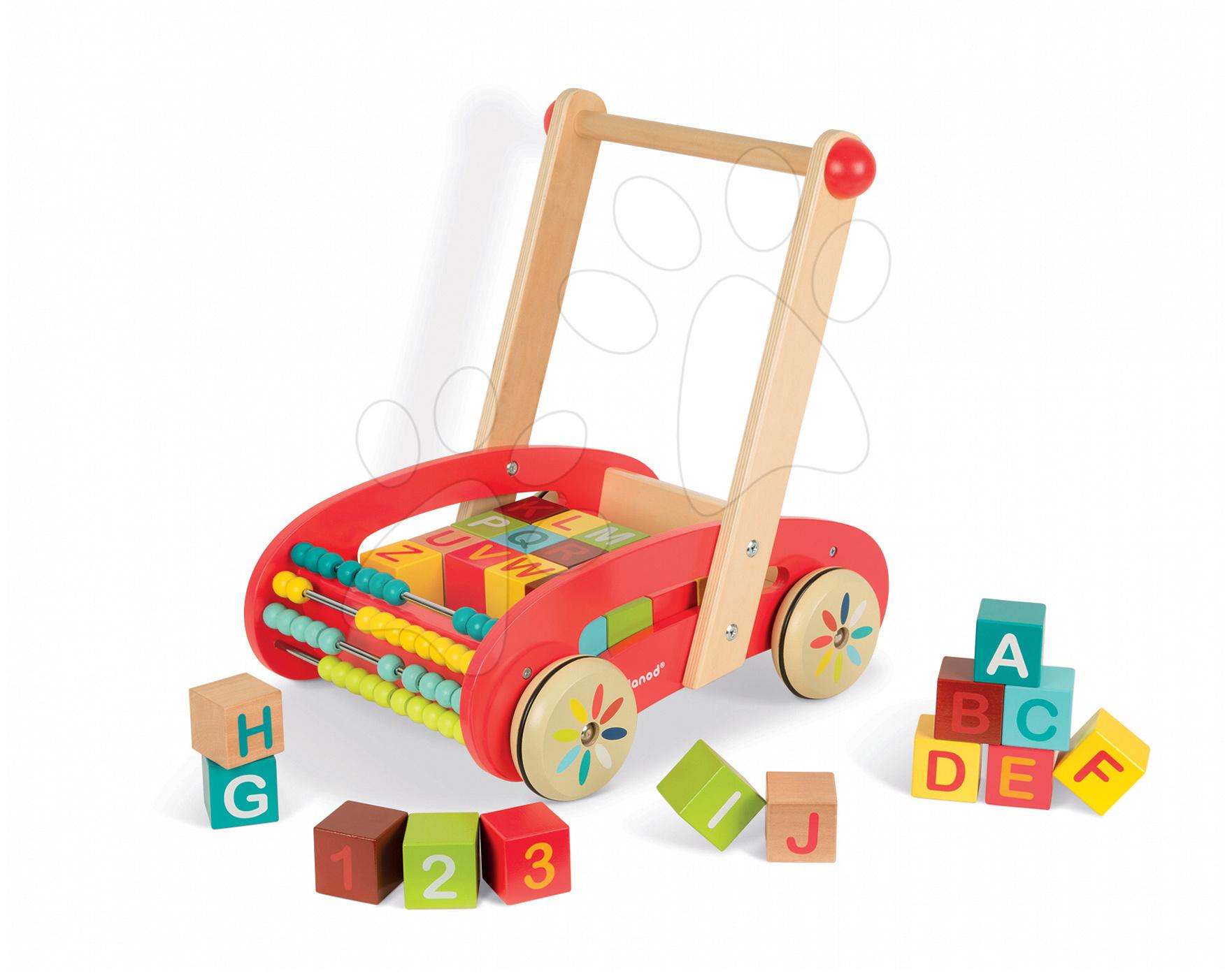 Dřevěné chodítko Tatoo Buggy Janod s počítadlem a ABC kostkami 30 kostek