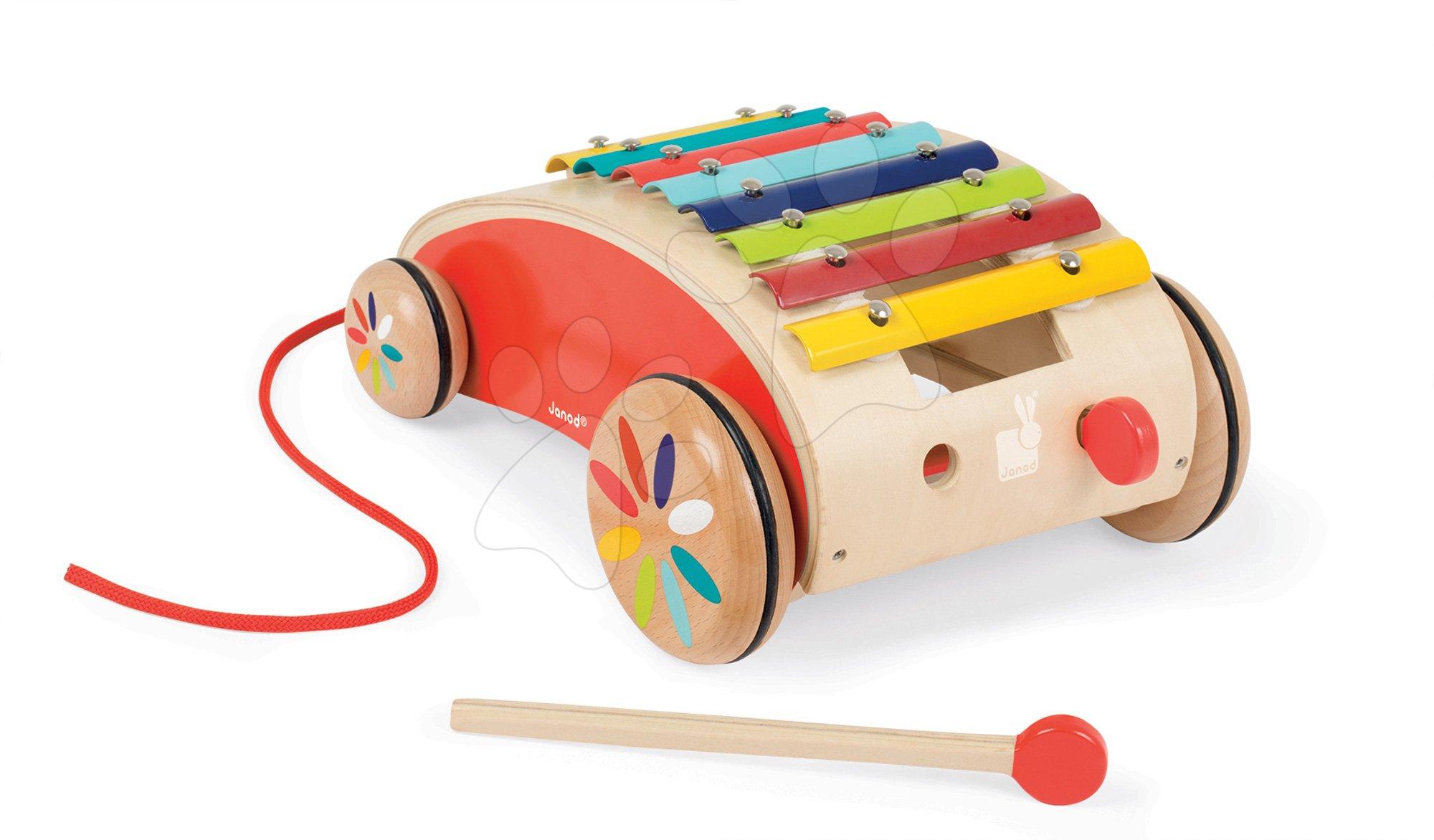 Ťahacie hračky - Drevený vozík s xylofónom Red Tatoo Janod na ťahanie od 18 mes