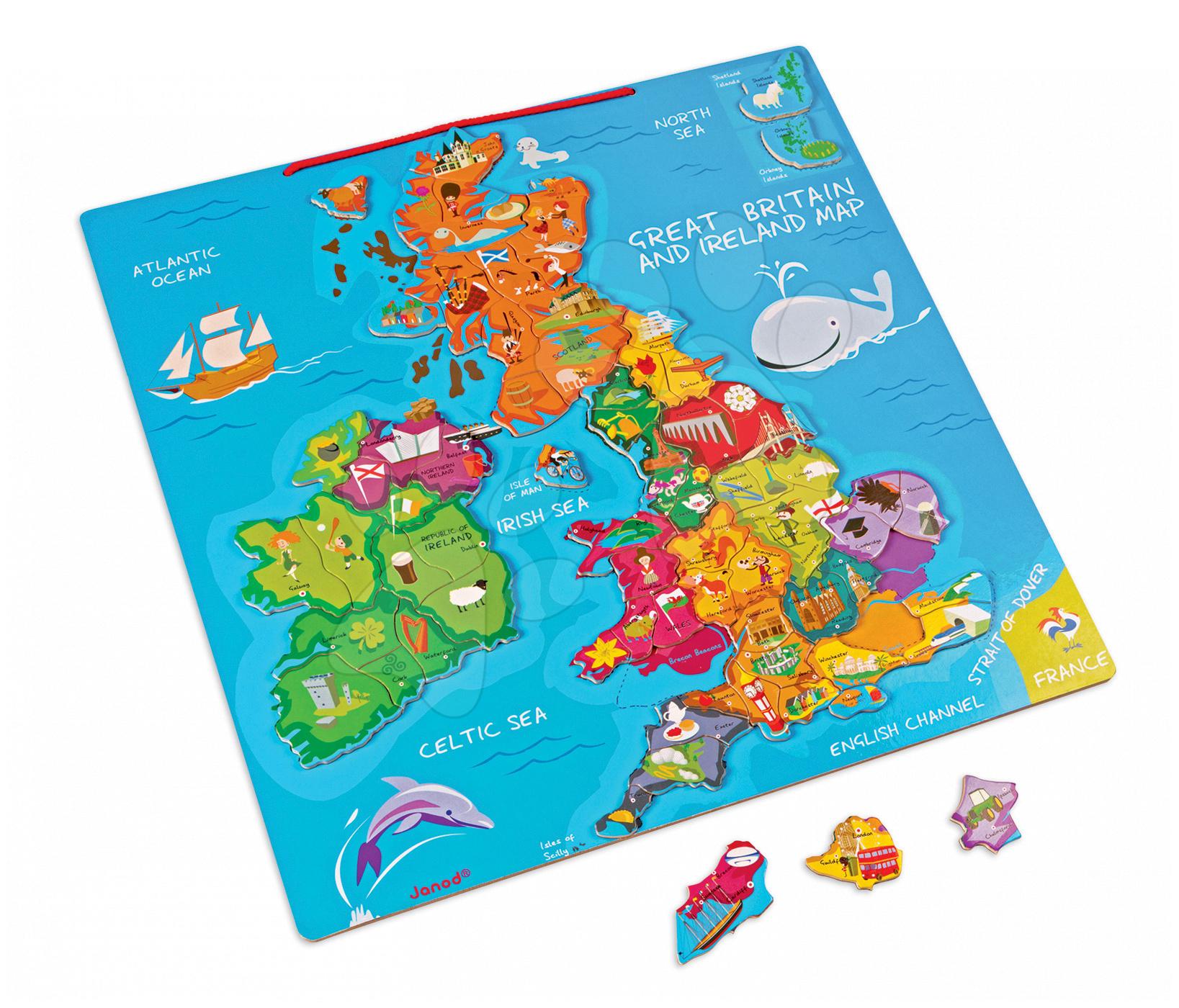 Magnetická mapa Velká Británie Magnetic Janod 80 magnetů od 7 let