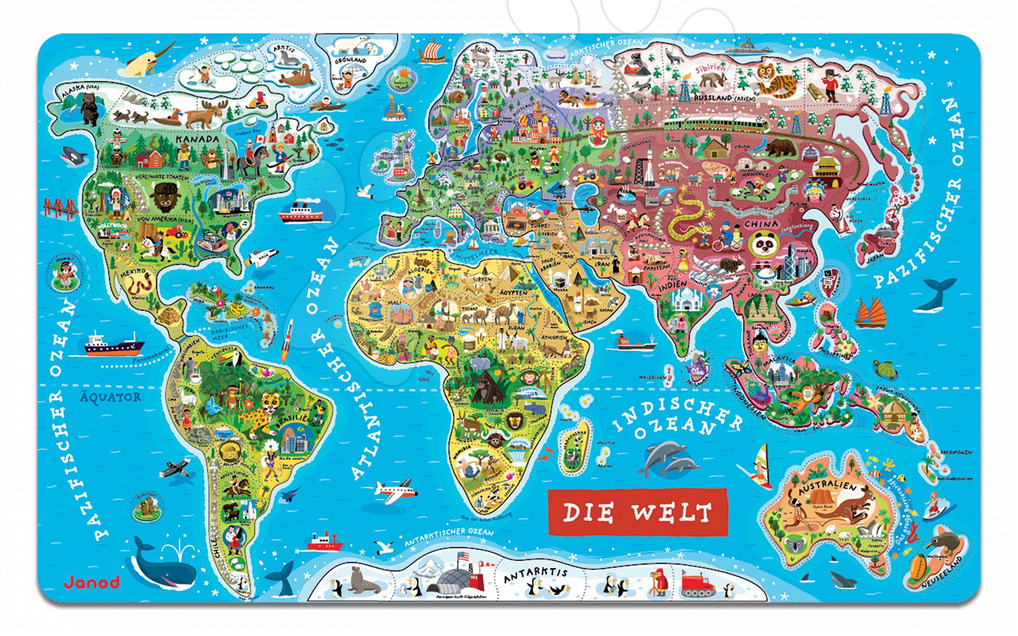 Magnetky pre deti - Magnetická mapa sveta Magnetic World Map nemecká verzia Janod 92 magnetov od 5 rokov