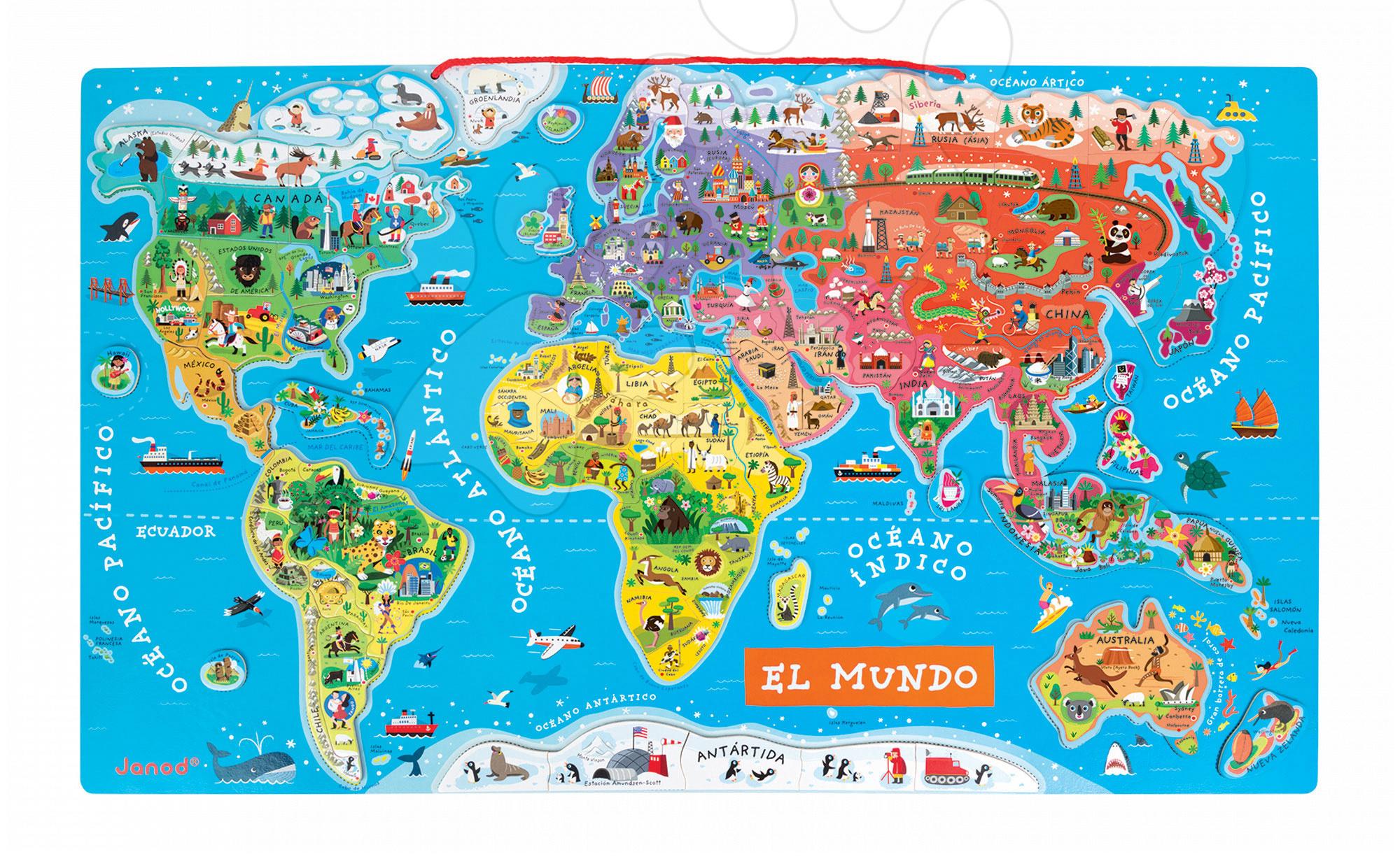 Magnetky pre deti - Magnetická mapa sveta Magnetic World Map španielska verzia Janod