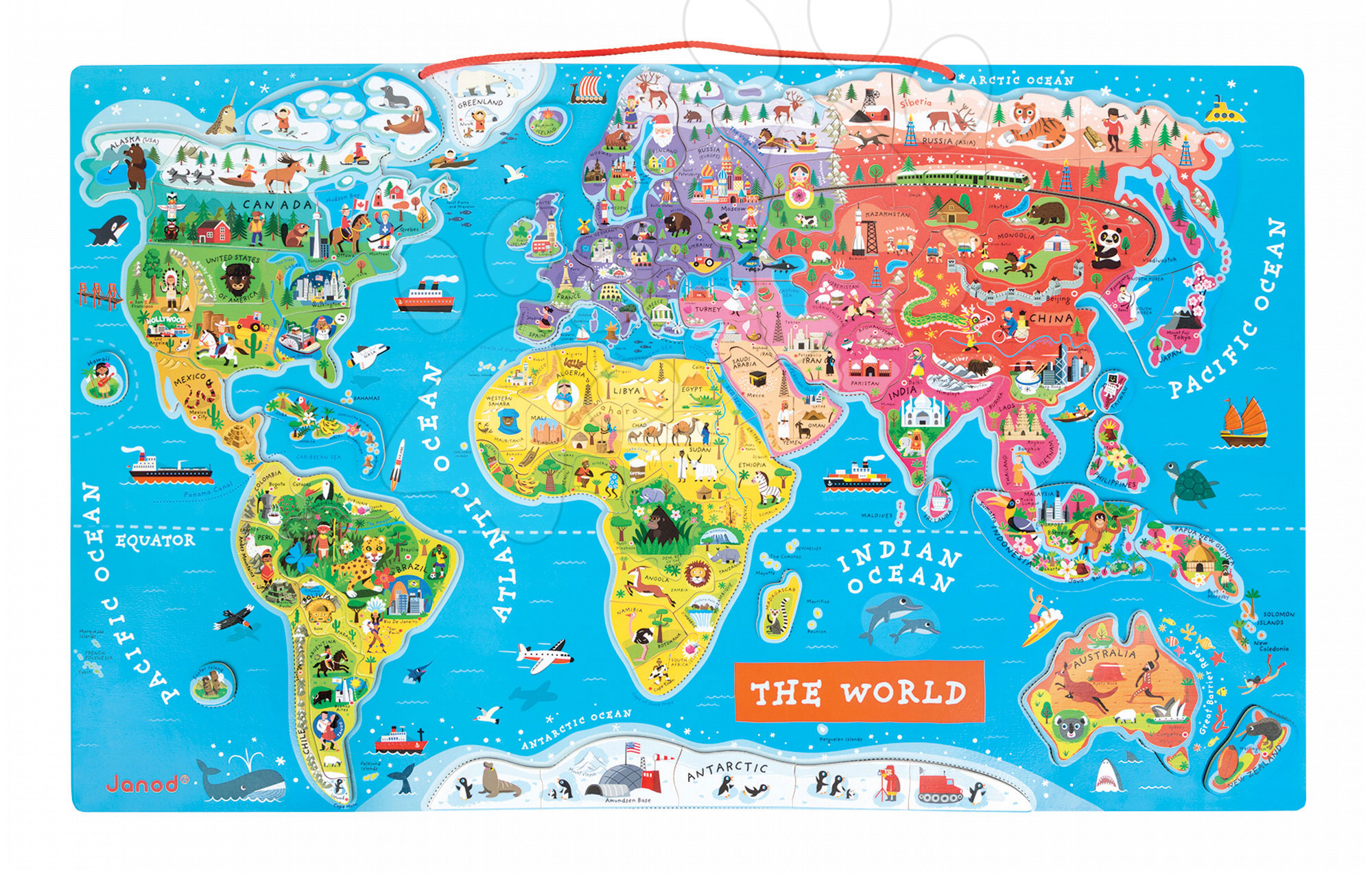 Magnetky pre deti - Magnetická mapa sveta Magnetic World Puzzle English Version Janod 92 magnetov od 5 rokov
