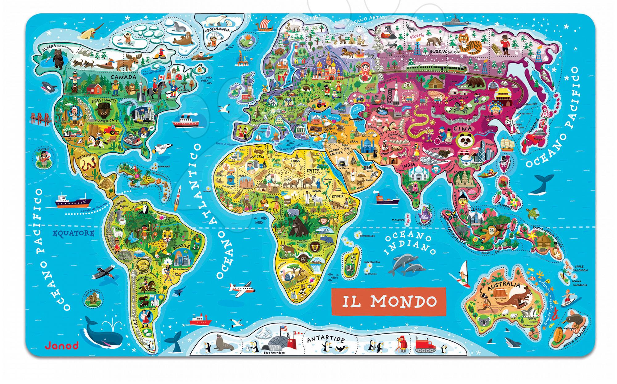 Magnetky pre deti - Magnetická mapa sveta World Map Magnetic talianska verzia Janod 92 magnetov od 5 rokov