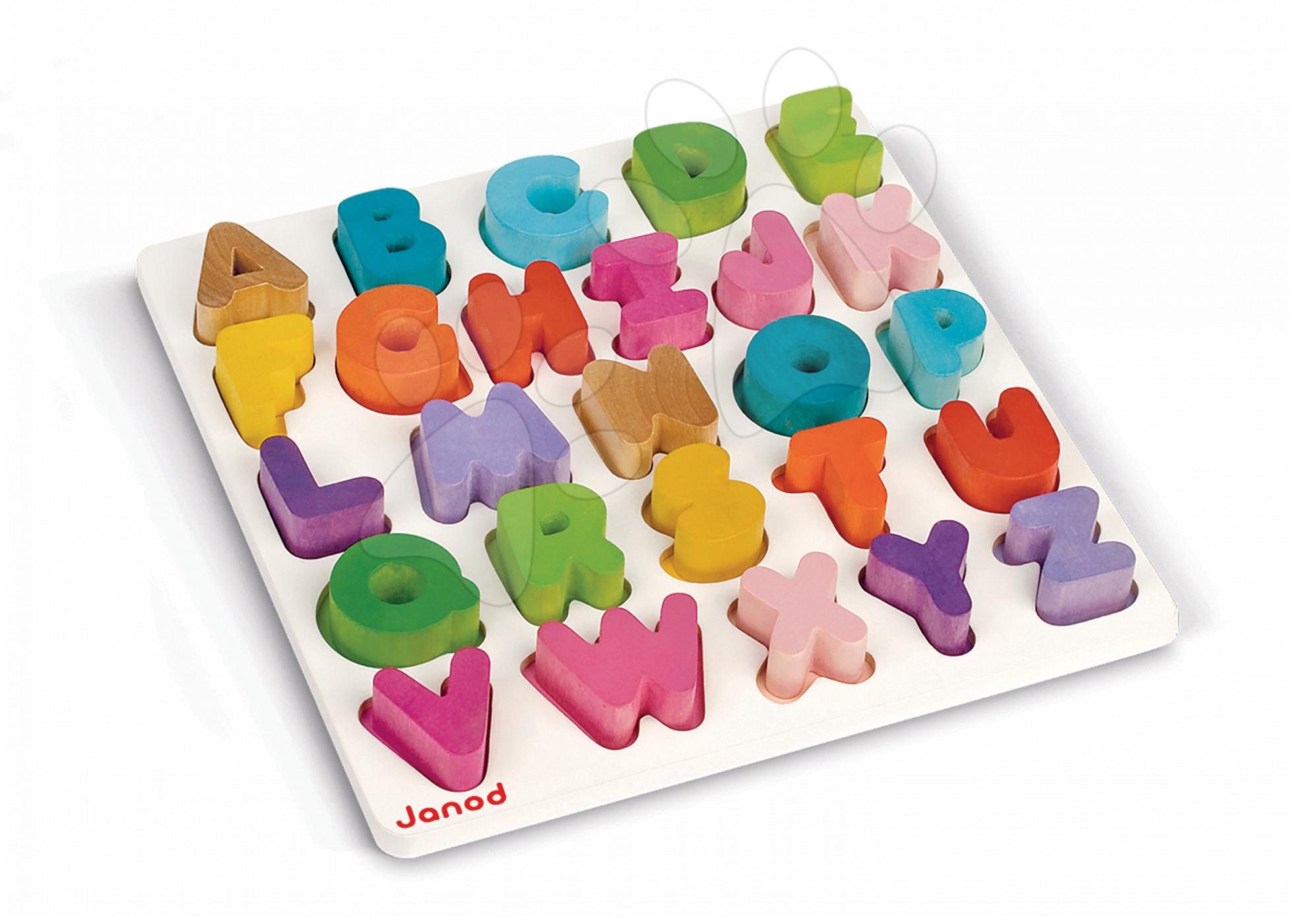 Puzzle pre najmenších - Drevená vkladačka Abeceda I Wood Janod puzzle