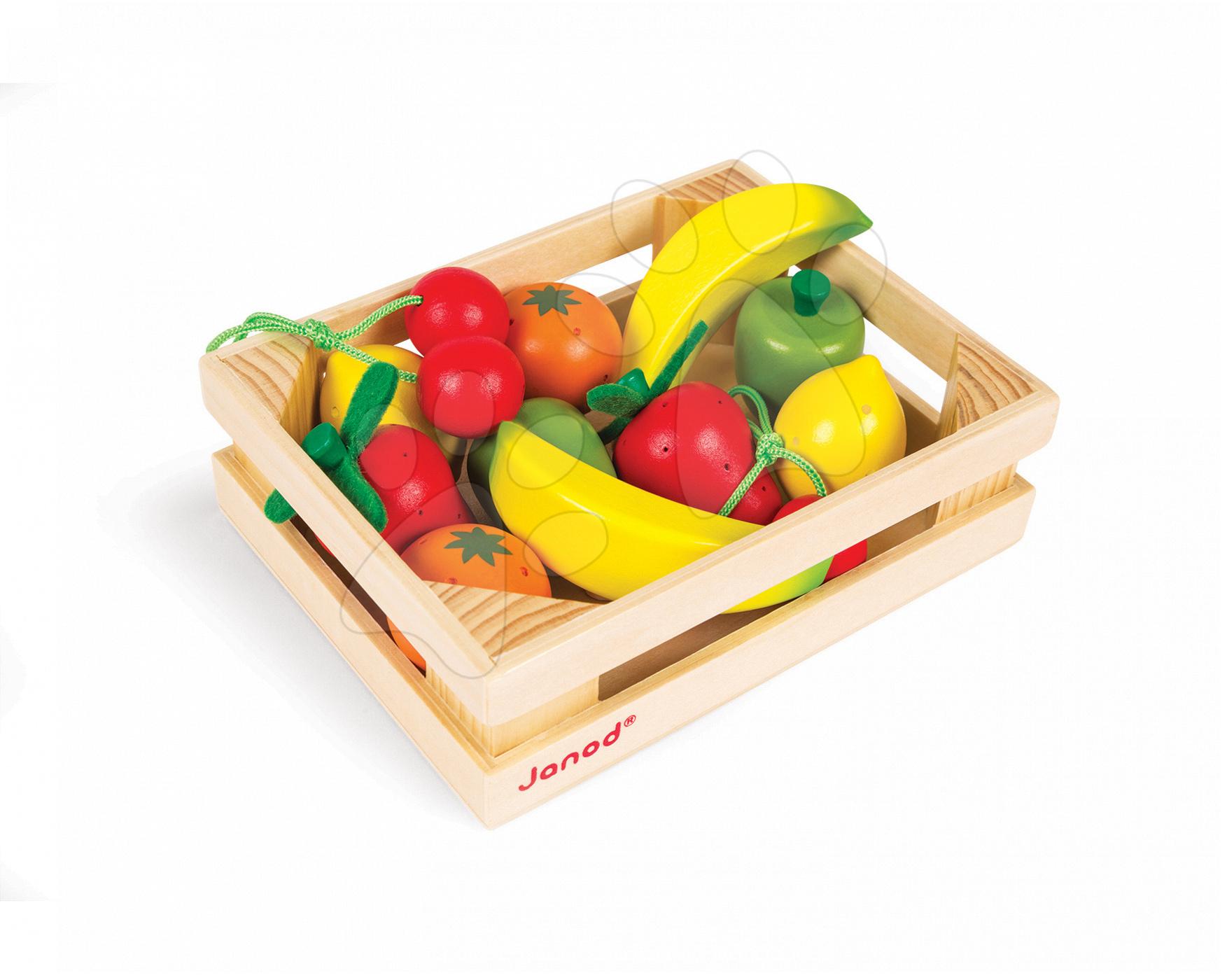 Dřevěné ovoce Janod v bedničce 12 ks