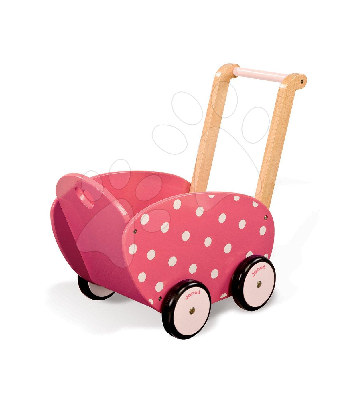 Dřevěný kočárek pro panenku Framboisine Doll 's Pram Janod chodítko