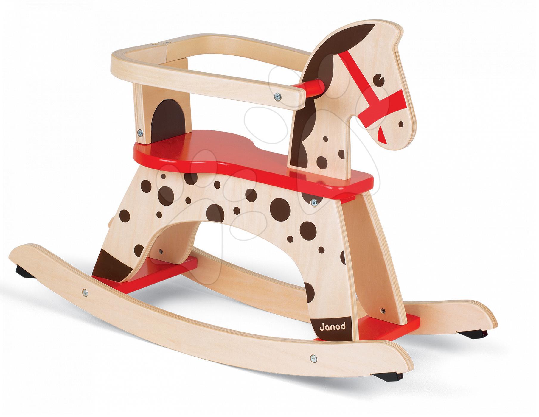 Hojdacie koníky - Drevený hojdací koník Caramel Janod s odnímateľnou ohrádkou od 12 mes