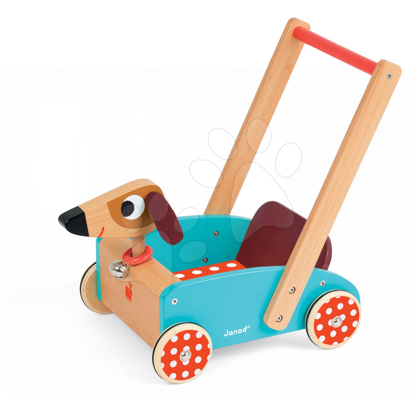 Drevené kočíky pre bábiky  - Drevené chodítko Veselý pes Janod so zvukom
