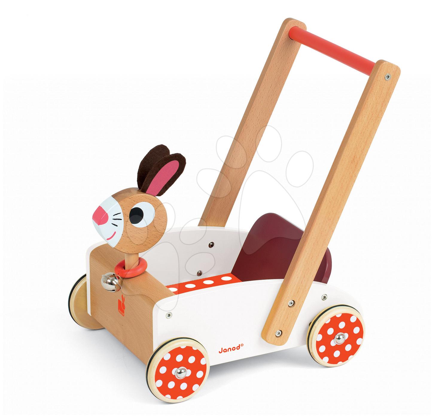 Drevené kočíky pre bábiky  - Drevené chodítko Veselý zajac Janod so zvukom