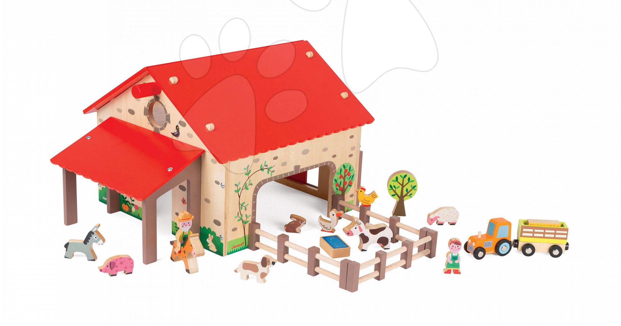Poľnohospodárske stroje - Drevená stavebnica Šťastná farma Wooden Worlds Janod s 19 doplnkami od 3 rokov