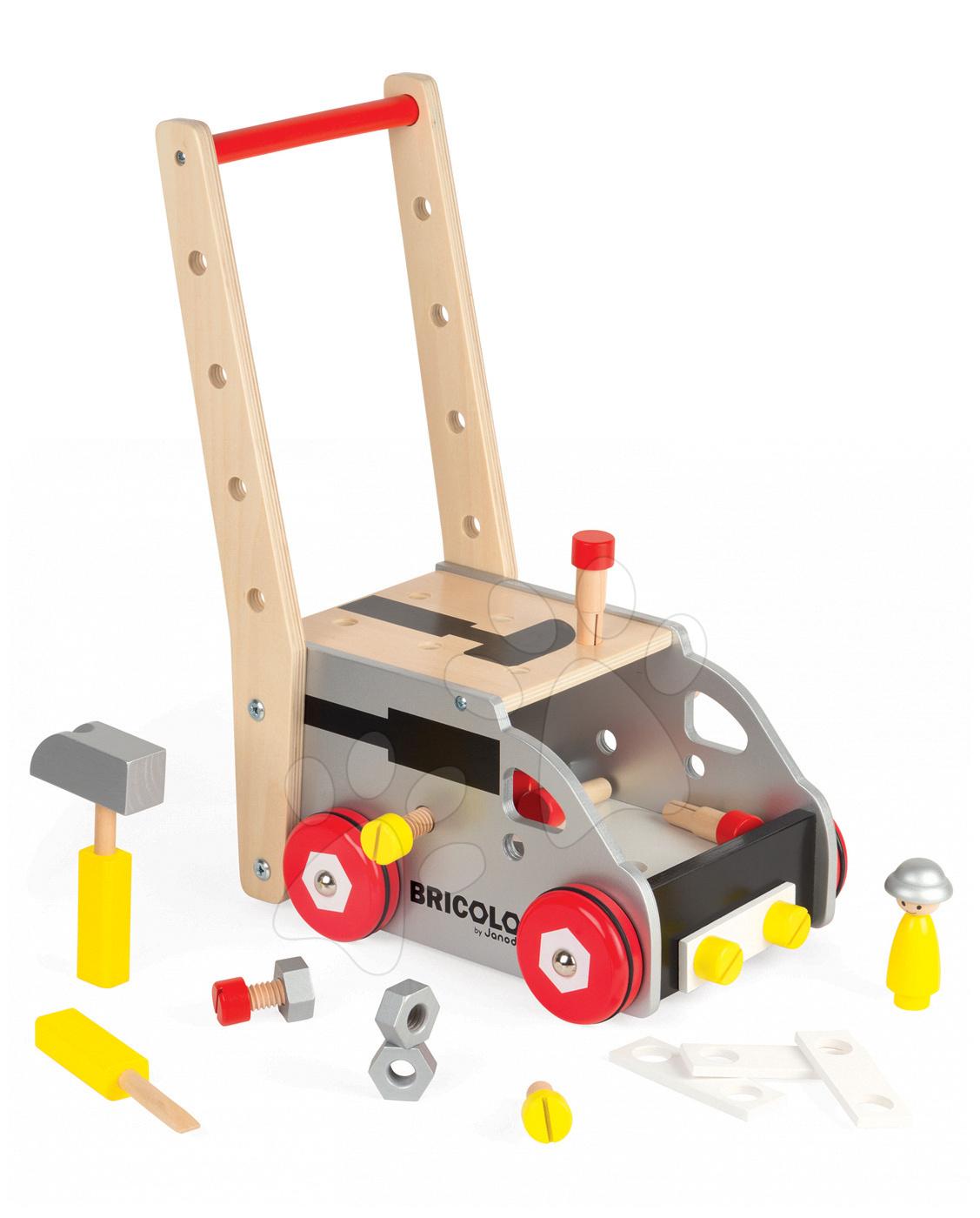 Pracovná detská dielňa - Drevený pracovný vozík Redmaster Bricolo Janod magnetický s 24 doplnkami