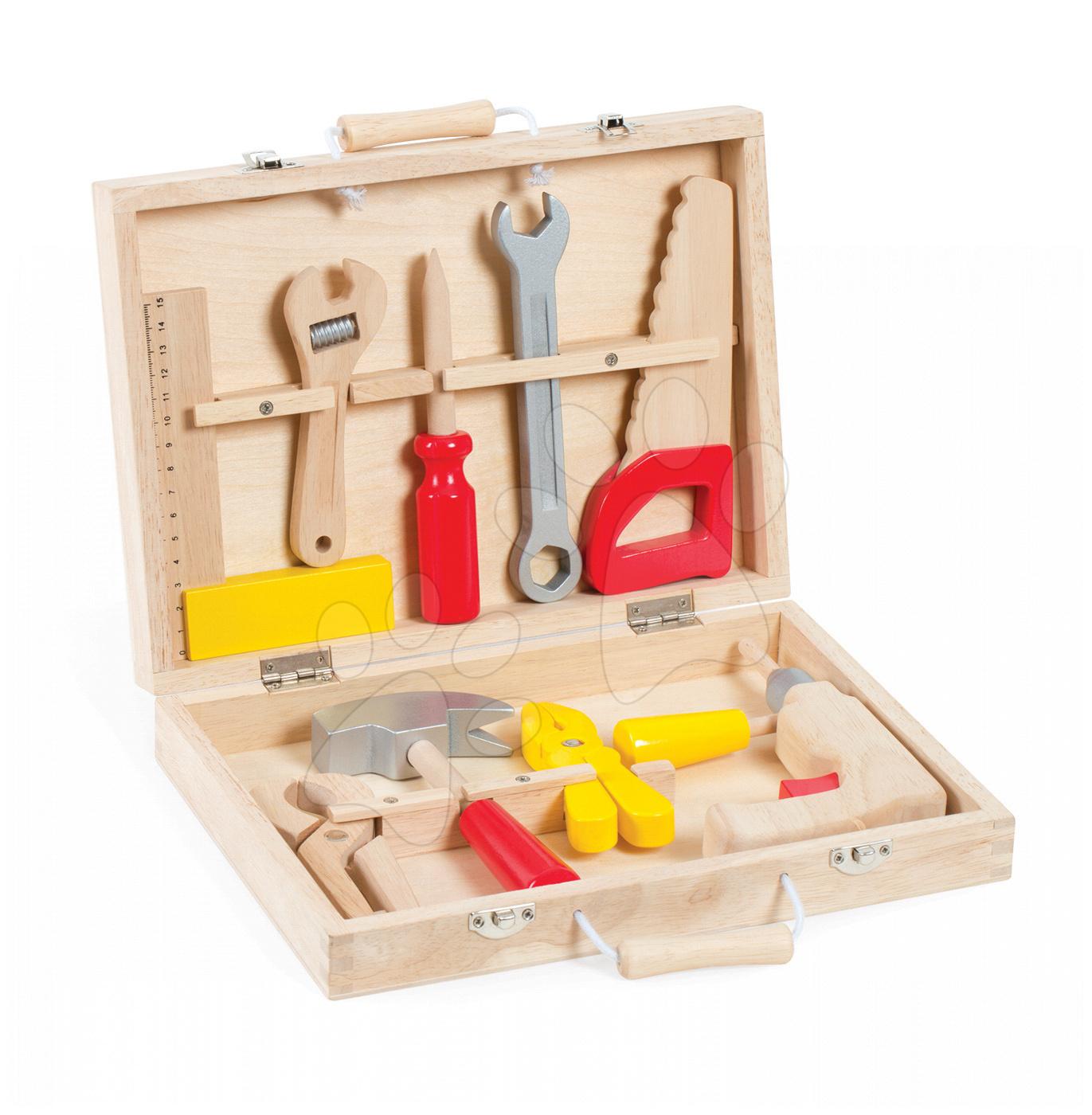 Pracovná detská dielňa - Drevený pracovný kufrík Redmaster Bricolo Janod s náradím 9 ks