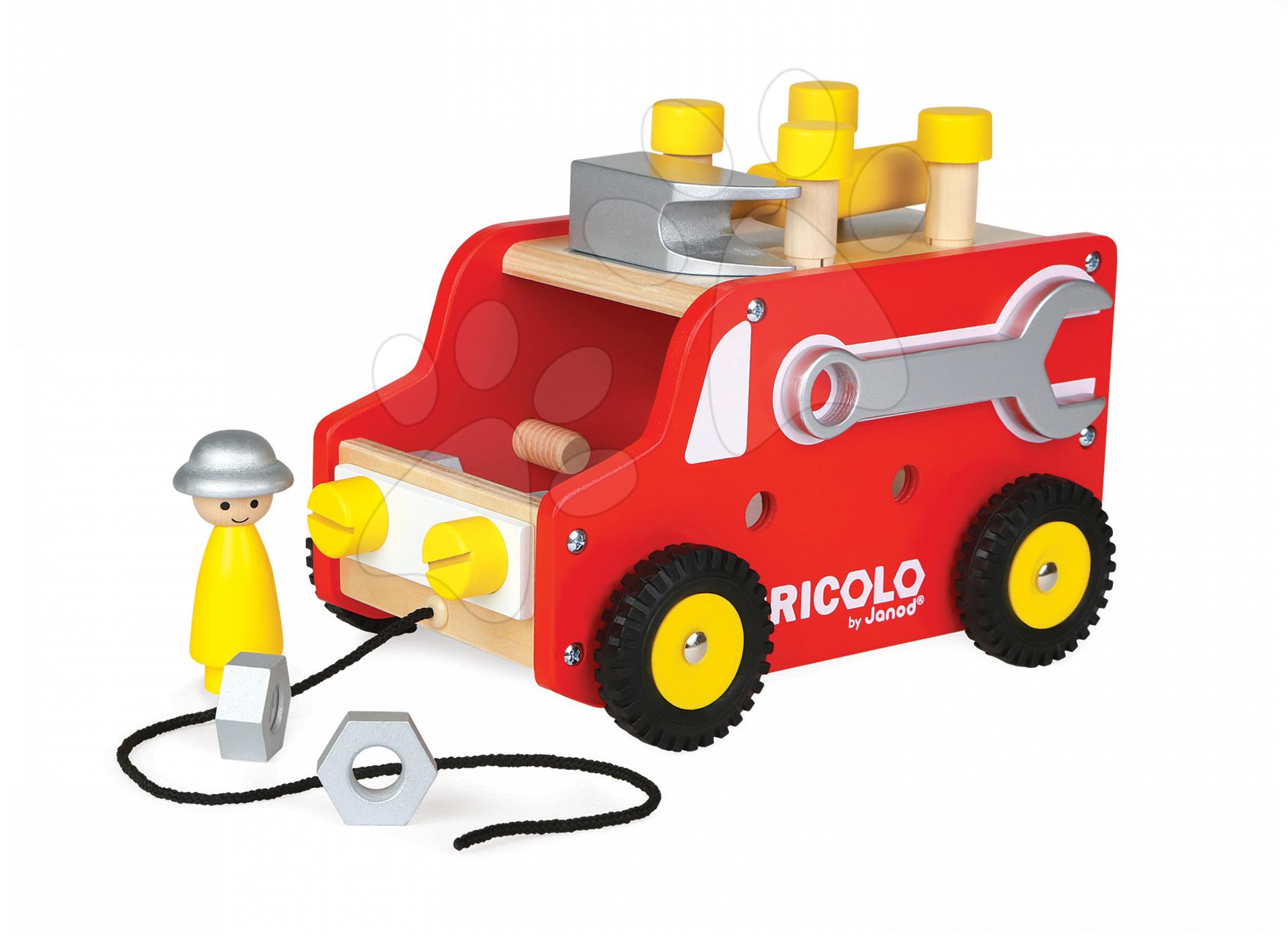Dřevěná magnetická stavebnice auto Redmaster Bricolo Truck Janod a 22 doplňků od 24 měsíců