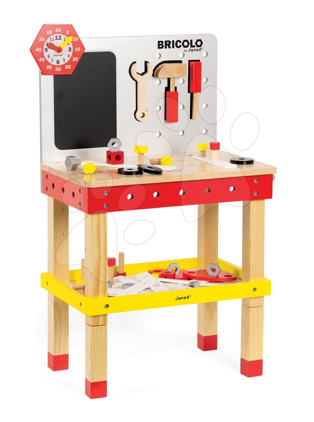 Pracovná detská dielňa - Drevený magnetický pracovný stôl Janod Redmaster Giant Bricolo XL so 40 doplnkami