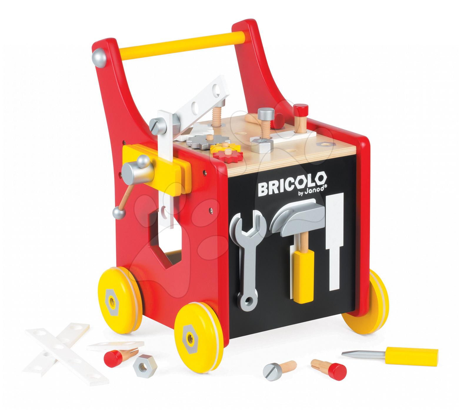 Pracovná detská dielňa - Drevený pracovný vozík Redmaster Bricolo Janod magnetický s 25 doplnkami