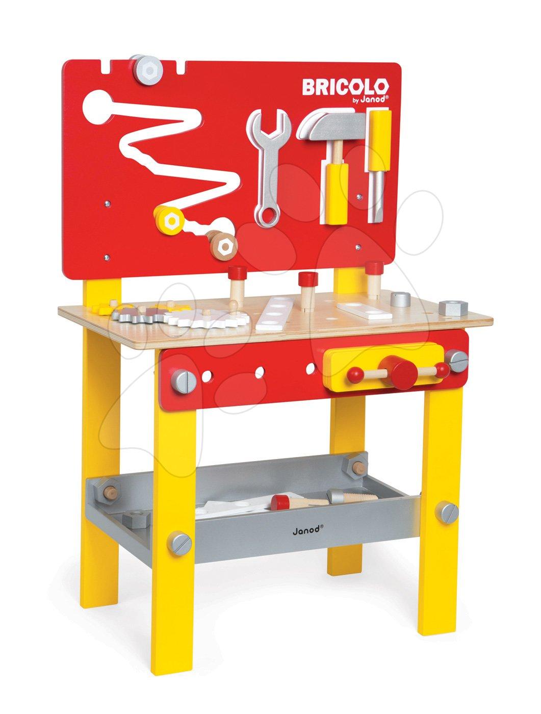 Drevená detská dielňa a náradie - Drevený pracovný stôl Redmaster Bricolo M Janod magnetický s 24 doplnkami