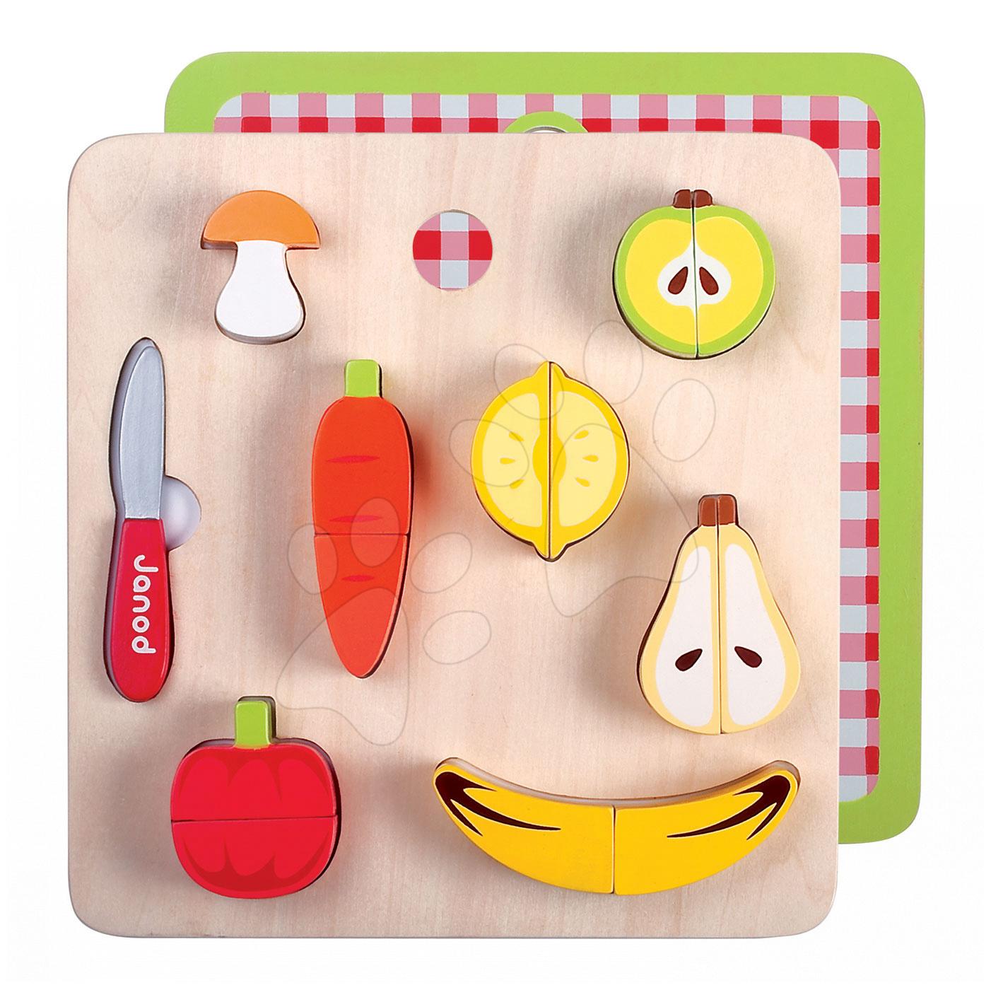 Drevené kuchynky - Drevené ovocie a zelenina Picnik Chunky Fruits&Veg Janod 12 kusov od 24 mes