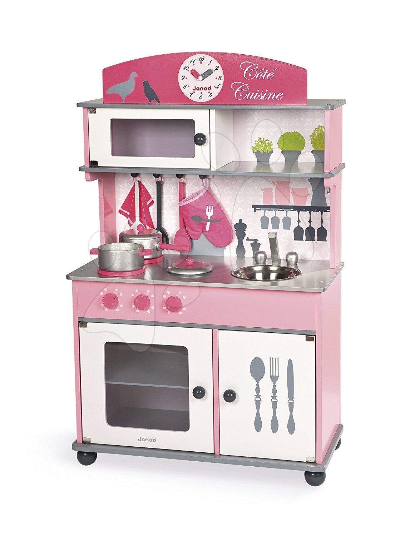Dřevěná kuchyňka na kolečkách Cote Janod růžová s otočnými knoflíky se zvukem a 8 doplňky od 3 let