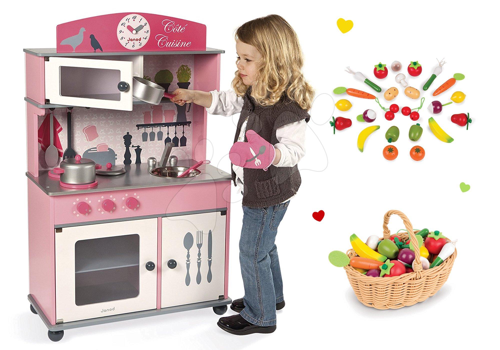 Janod set drevená kuchynka Cote ružová a drevené ovocie a zelenina v košíku 06565-2