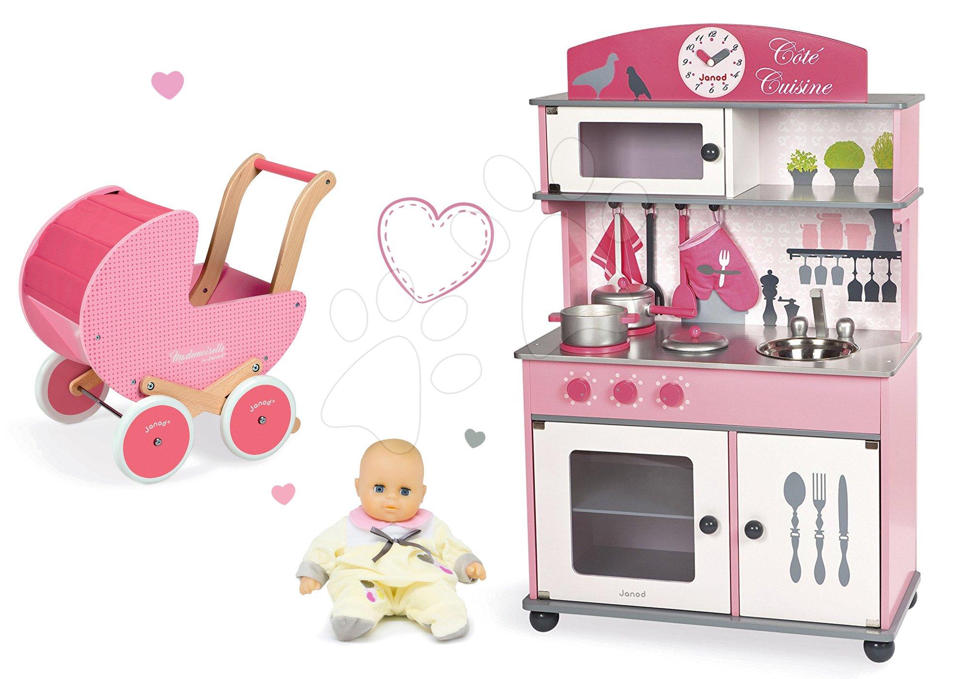 Set drevená kuchynka Cote Janod ružová na kolieskach a kočík s bábikou