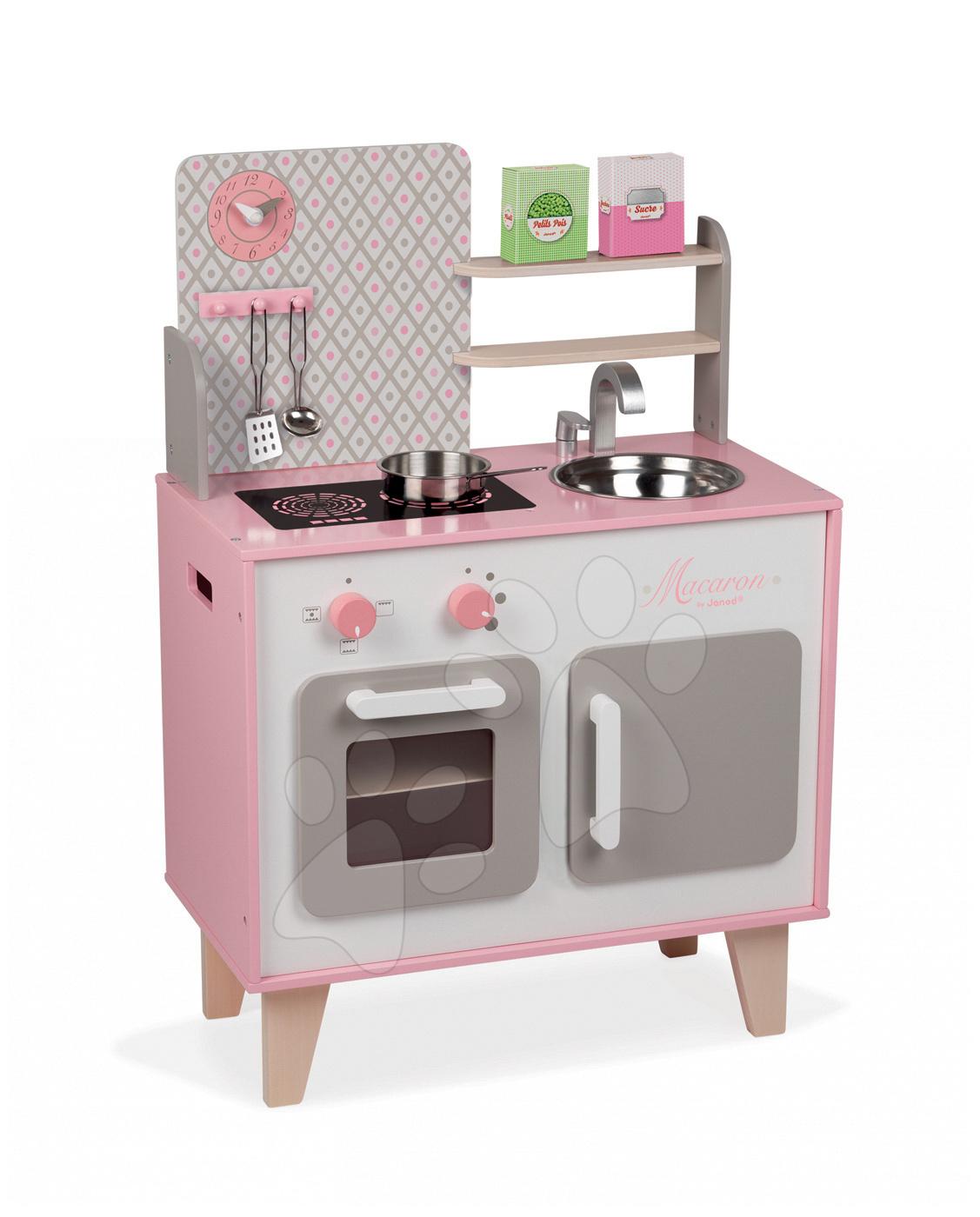 Dřevěná kuchyňka Macaron Maxi Cooker Janod s otočnými knoflíky růžová