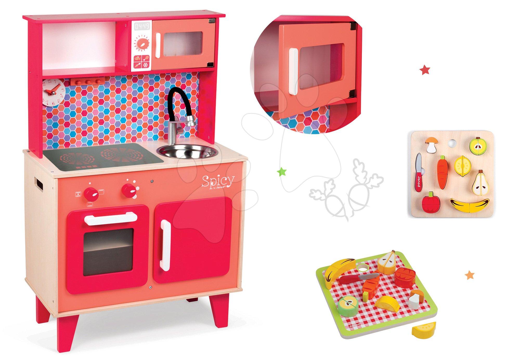 Janod set drevená kuchynka Spicy Cooker červená a drevené ovocie a zelenina 06573-1