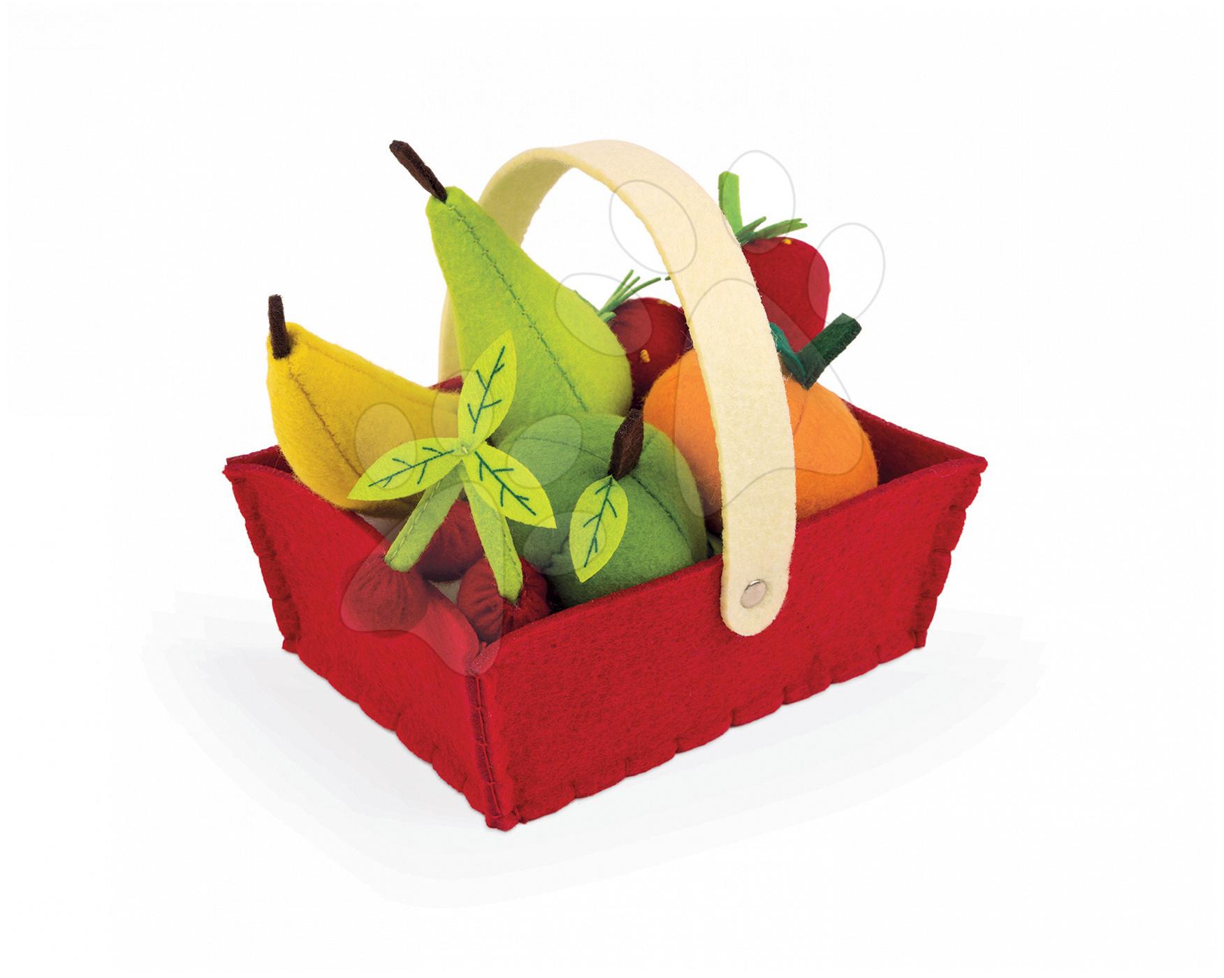 Košík Janod s 8 druhy ovoce z plsti od 24 měsíců
