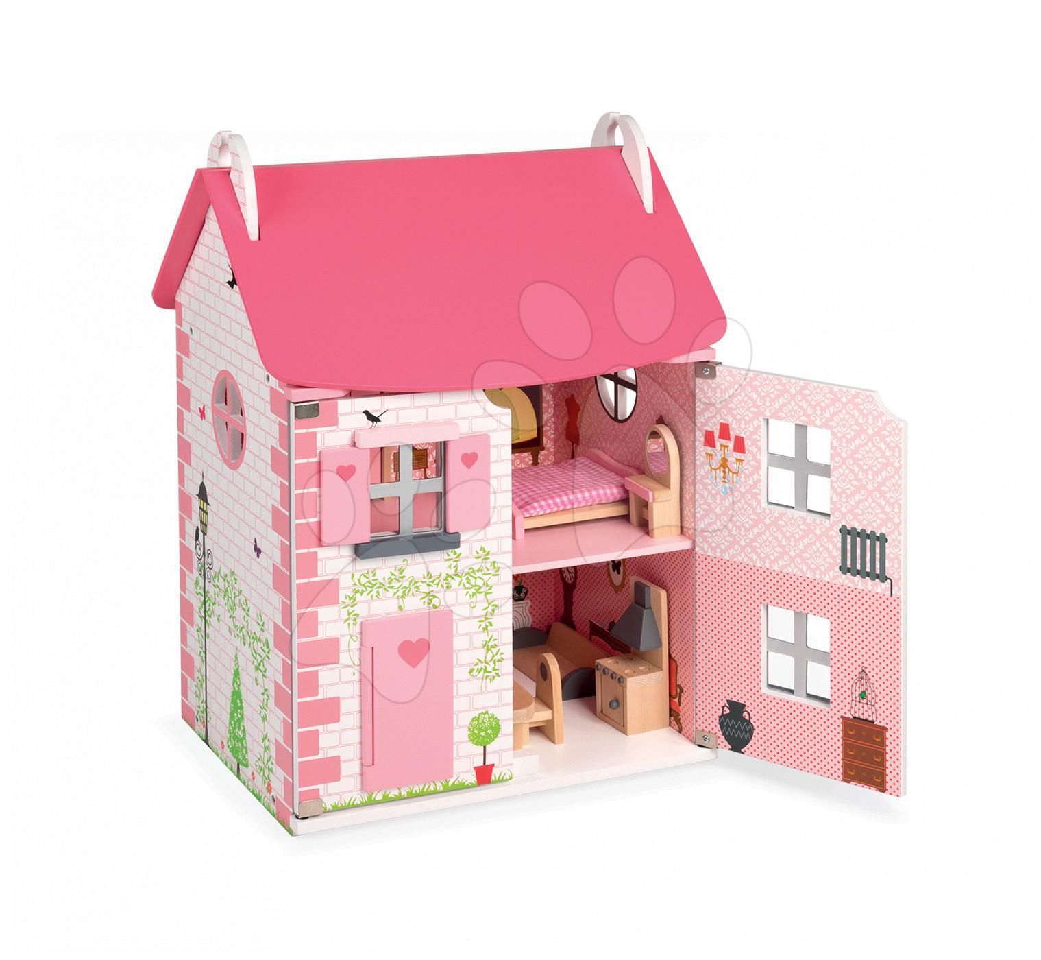 Dřevěný domeček pro panenky Mademoiselle Janod dvoupodlažní s dřevěným nábytkem růžový od 3 let