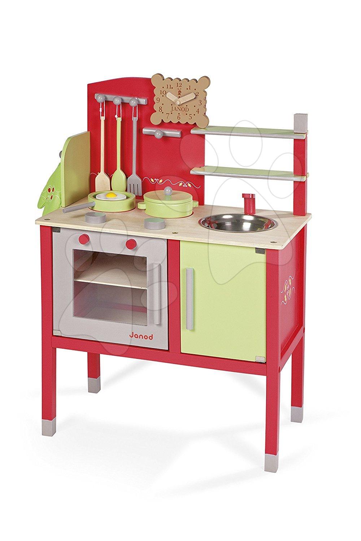 Drevená kuchynka Buscuit Janod červeno-zelená so 6 doplnkami od 3 rokov