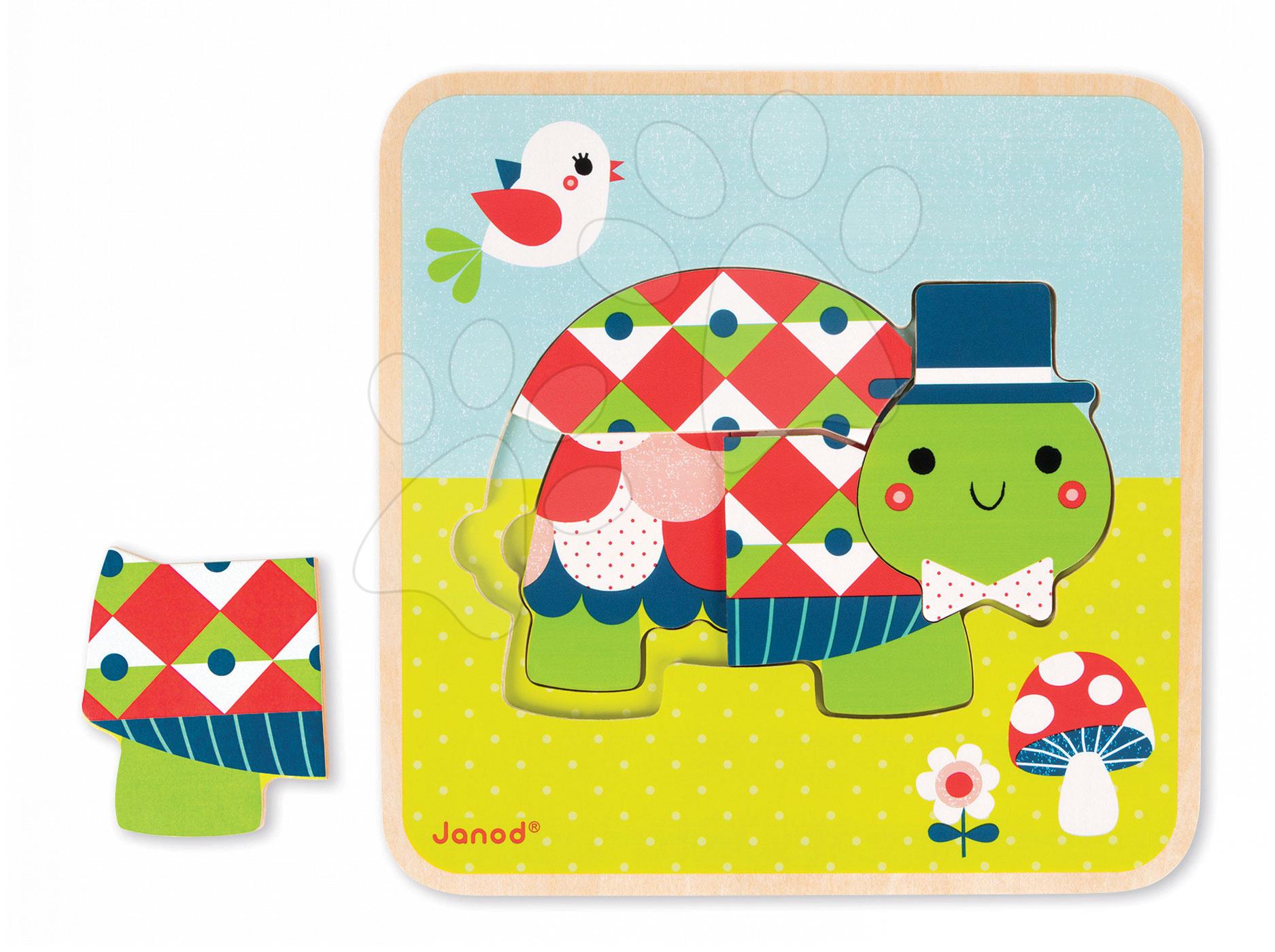 Puzzle pre najmenších - Drevené puzzle pre najmenších Rodinka korytnačiek Janod 3-vrstvové 9 dielov od 24 mes