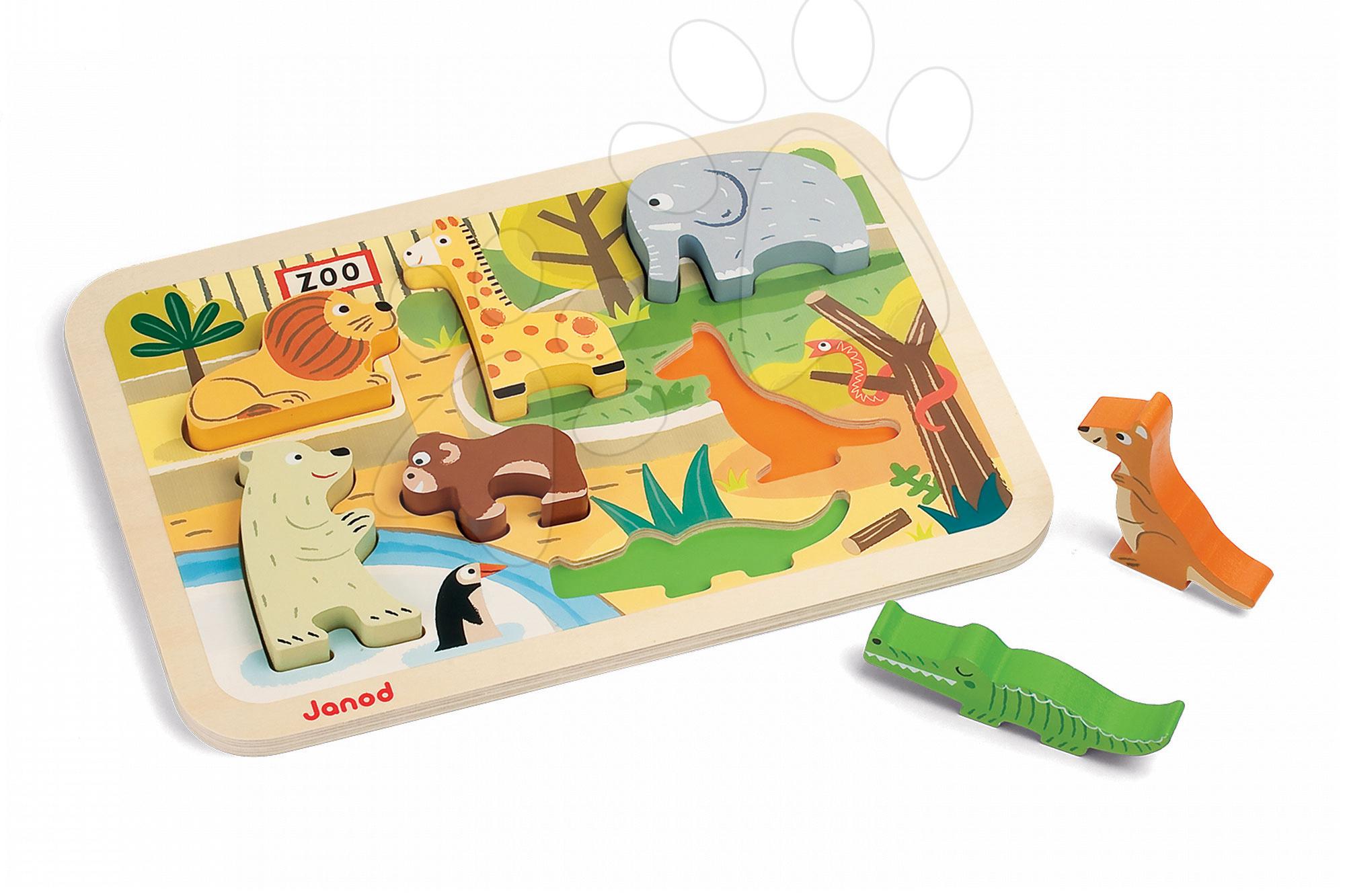 Dřevěné puzzle pro nejmenší Zoo Chunky Janod 7 dílů od 18 měsíců