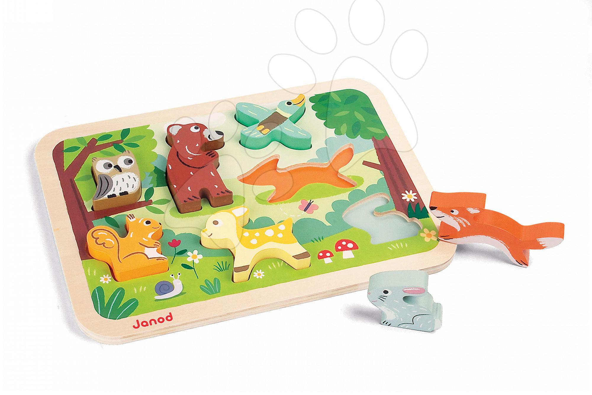 Puzzle pre najmenších - Drevené puzzle pre najmenších Lesné zvieratá Chunky Janod 7 dielov od 18 mes