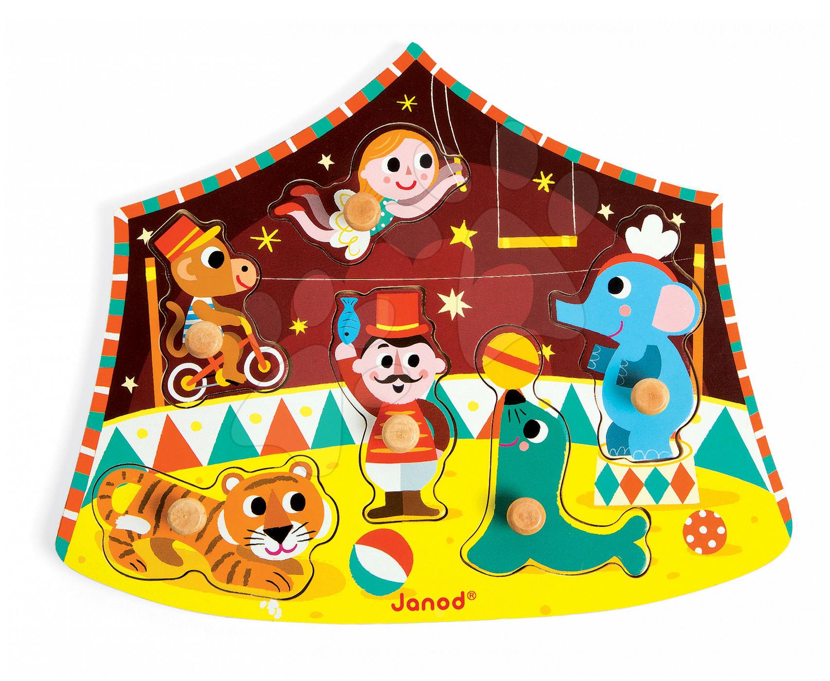 Dřevěné puzzle pro nejmenší Star Circus Janod 6 dílů od 18 měsíců