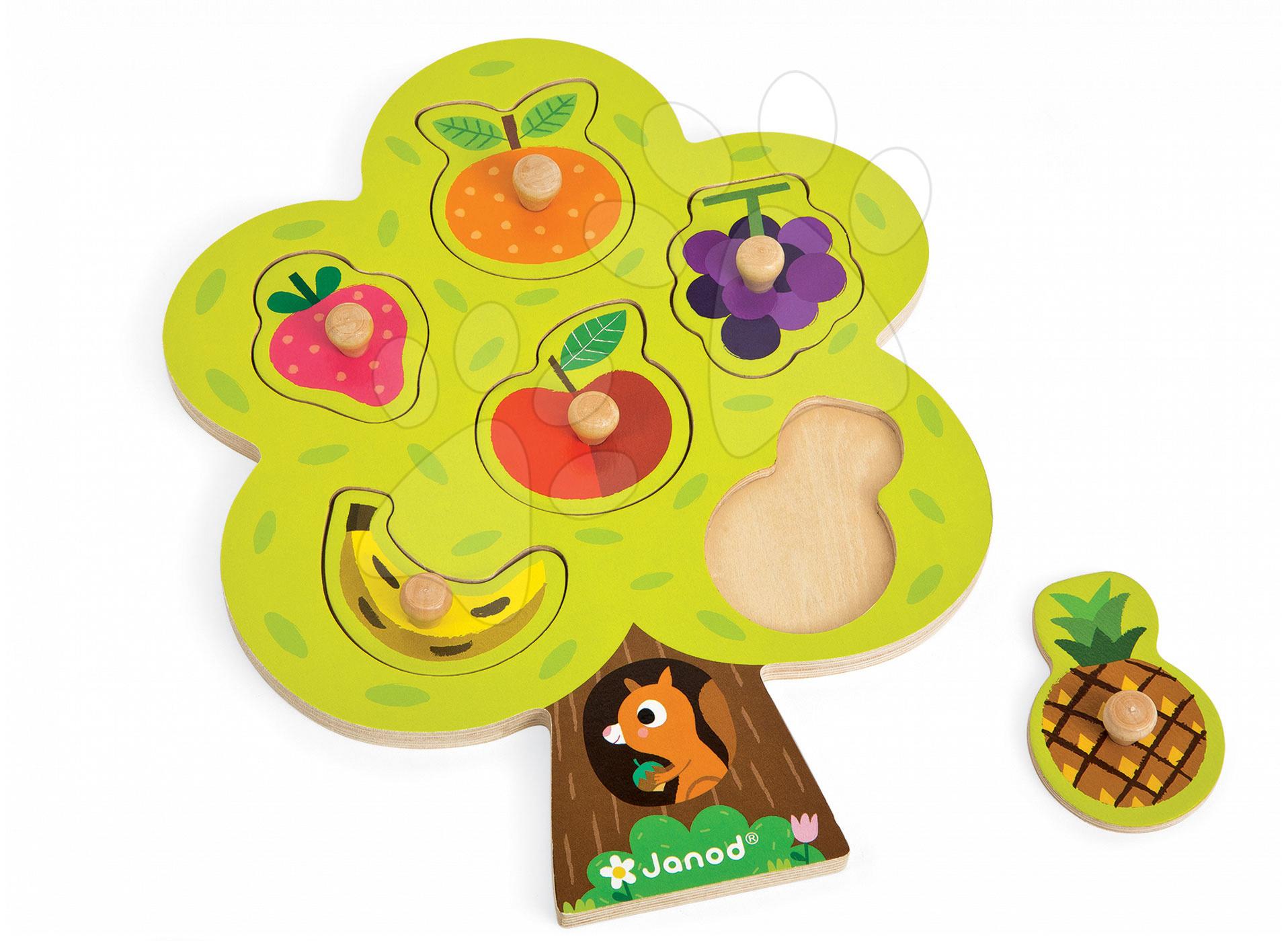 Dřevěné puzzle pro nejmenší Fruit Tree Janod 6 dílů od 18 měsíců