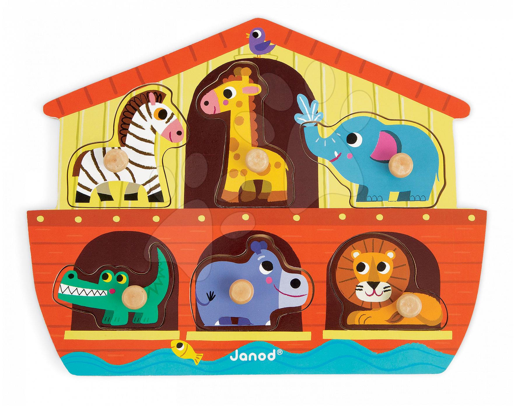 Puzzle pre najmenších - Drevené puzzle pre najmenších Noemova Archa Janod 6 dielov od 18 mes