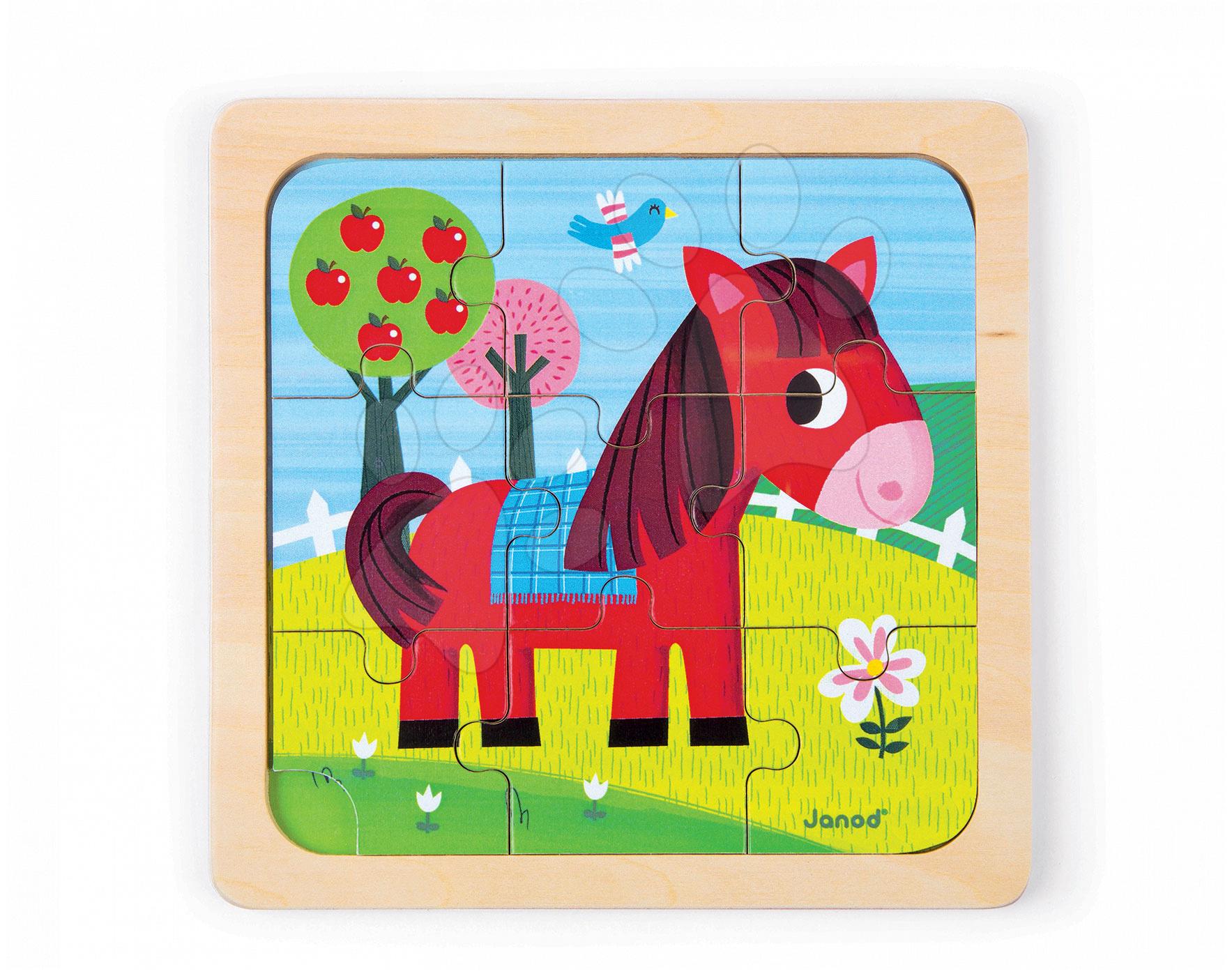 Puzzle pre najmenších - Drevené puzzle pre najmenších Tornado Horse Janod 9 dielov od 18 mes