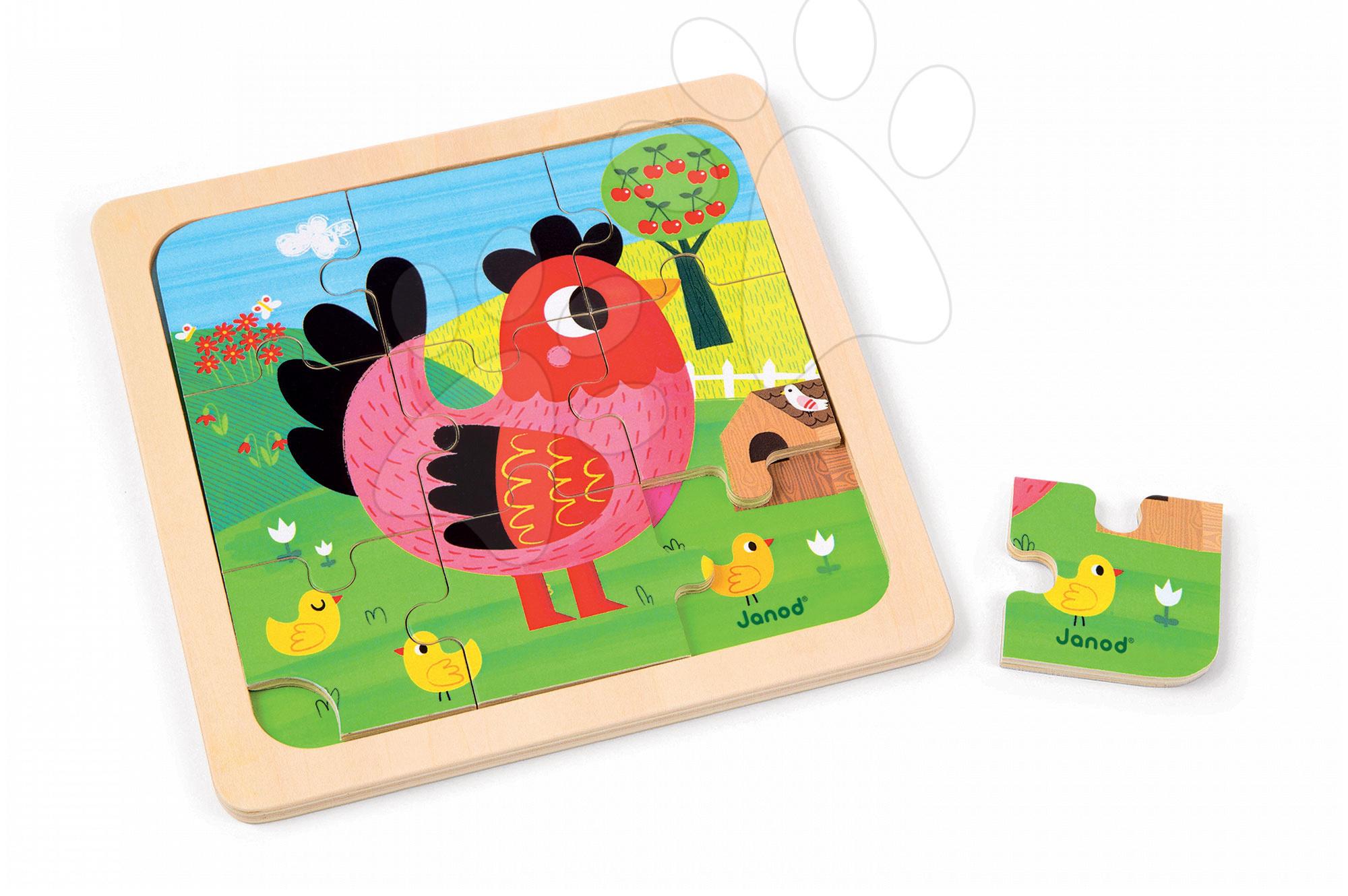 Puzzle pre najmenších - Drevené puzzle pre najmenších Violette Chicken Janod 9 dielov od 18 mes