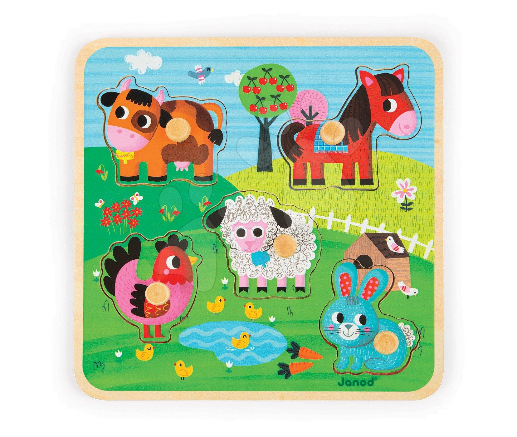 Puzzle pre najmenších - Drevené puzzle pre najmenších Happines Farm Janod 5 dielov od 18 mes