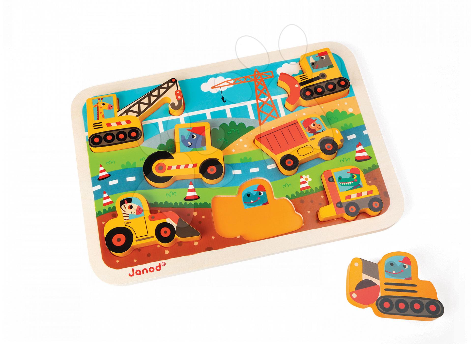 Puzzle pre najmenších - Drevené puzzle pre najmenších Stavebné autá Chunky Janod 7 dielov od 18 mes