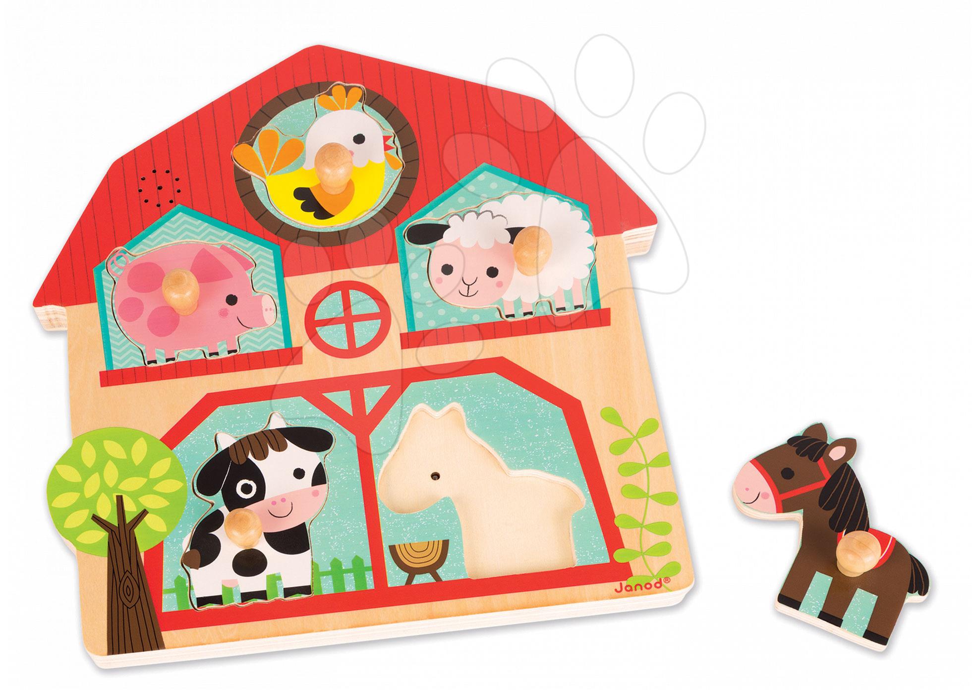 Dřevěné puzzle pro nejmenší Zvířátka z farmy Janod hudební 5 dílů od 18 měsíců