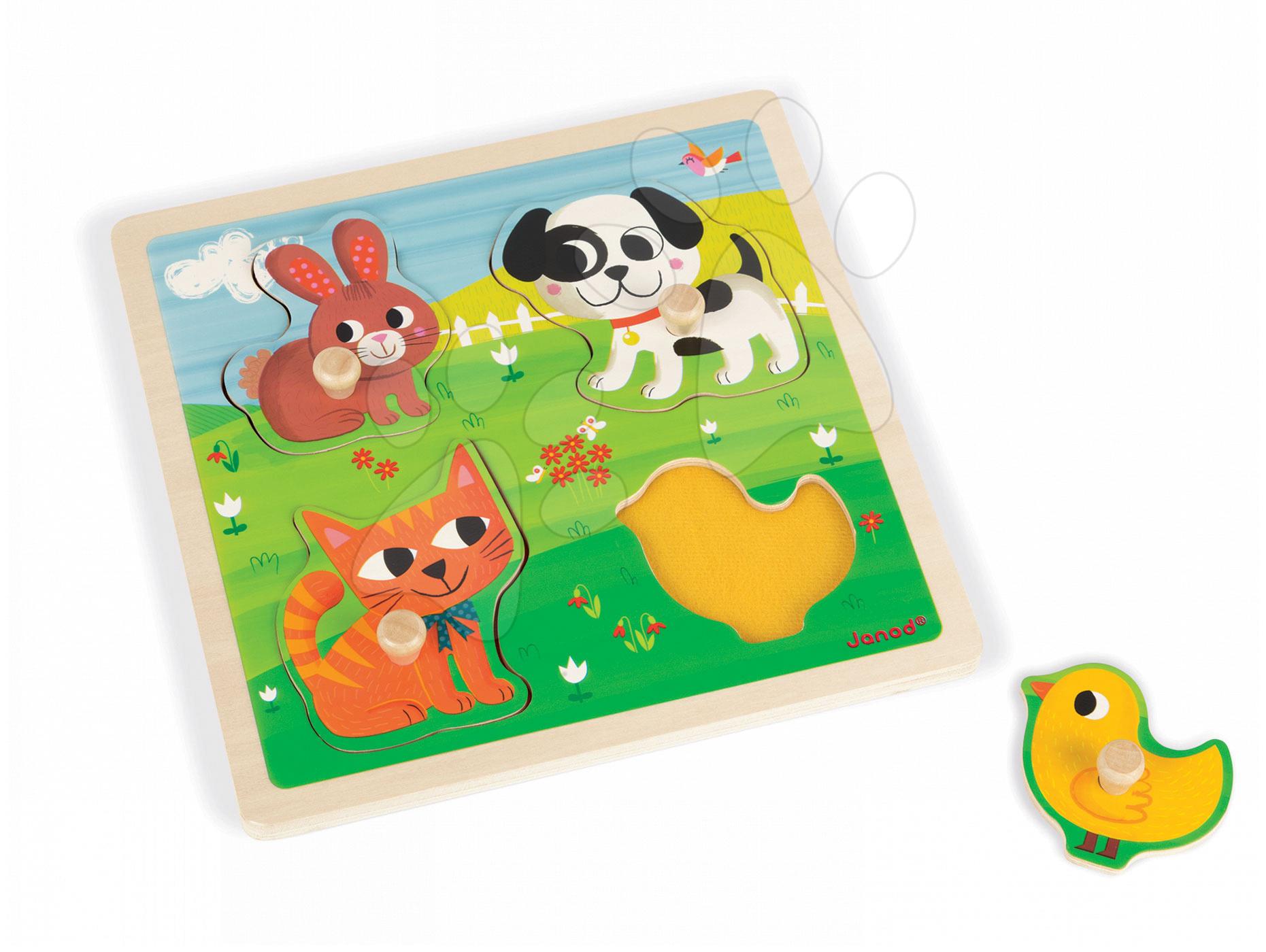 Puzzle pre najmenších - Drevené puzzle pre najmenších Domáce zvieratká Tactile Janod s textúrou 4 diely od 12 mes