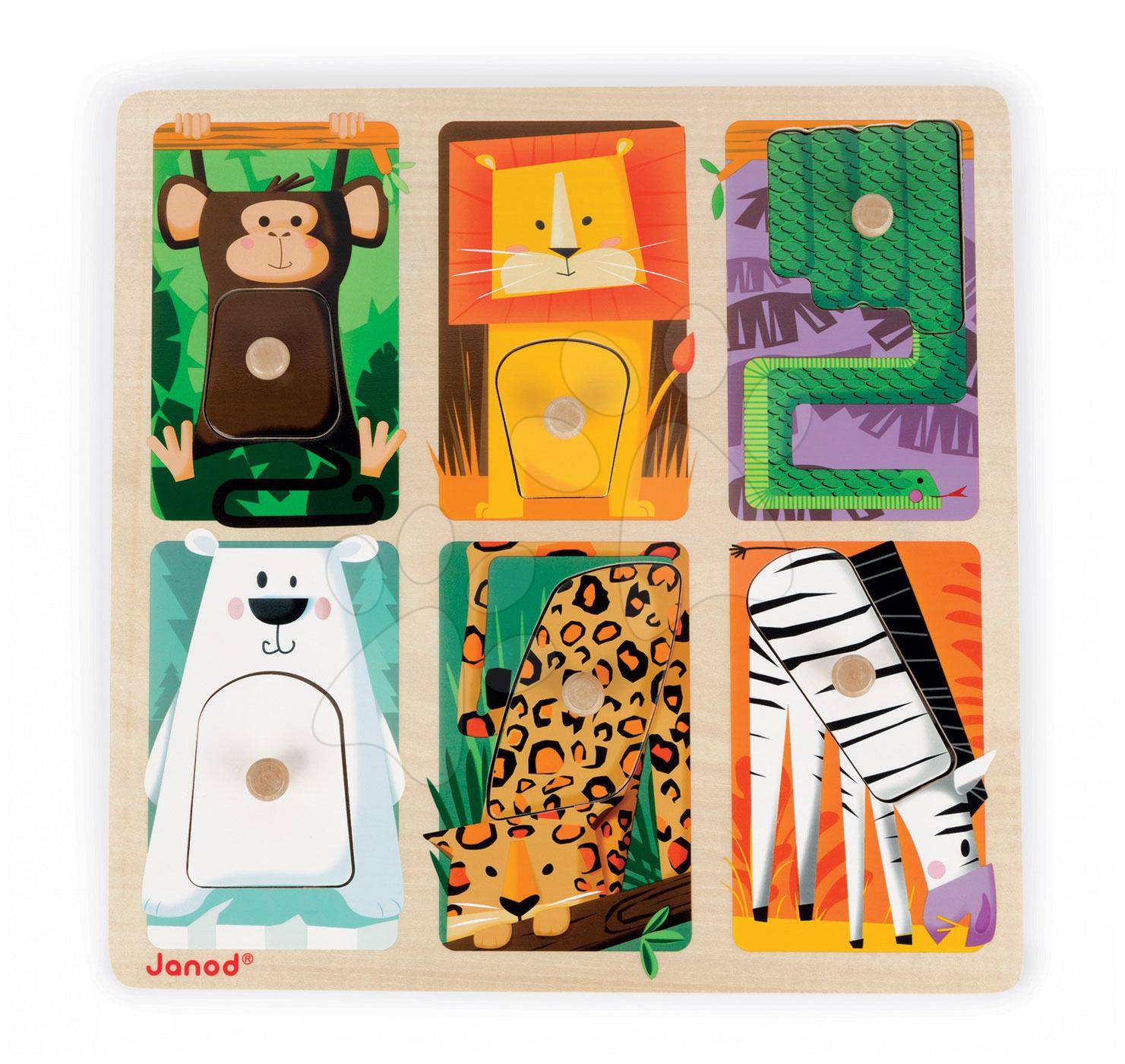 Puzzle pre najmenších - Drevené puzzle pre najmenších Zvieratká z džungle Tactile Janod s textúrou 6 dielov od 12 mes