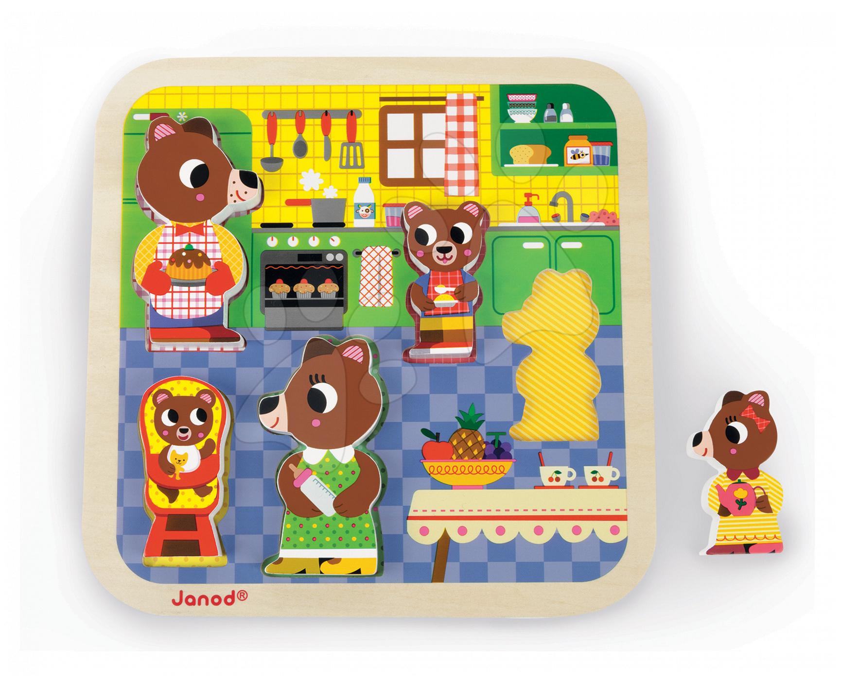 Puzzle pre najmenších - Drevené puzzle pre najmenších Medvede v kuchyni Chunky Janod 5 dielov od 18 mes