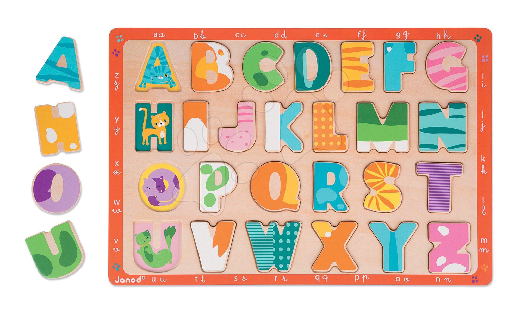 Puzzle pre najmenších - Drevené puzzle Kitten ABC Janod s veľkou abecedou 26 dielov od 24 mes