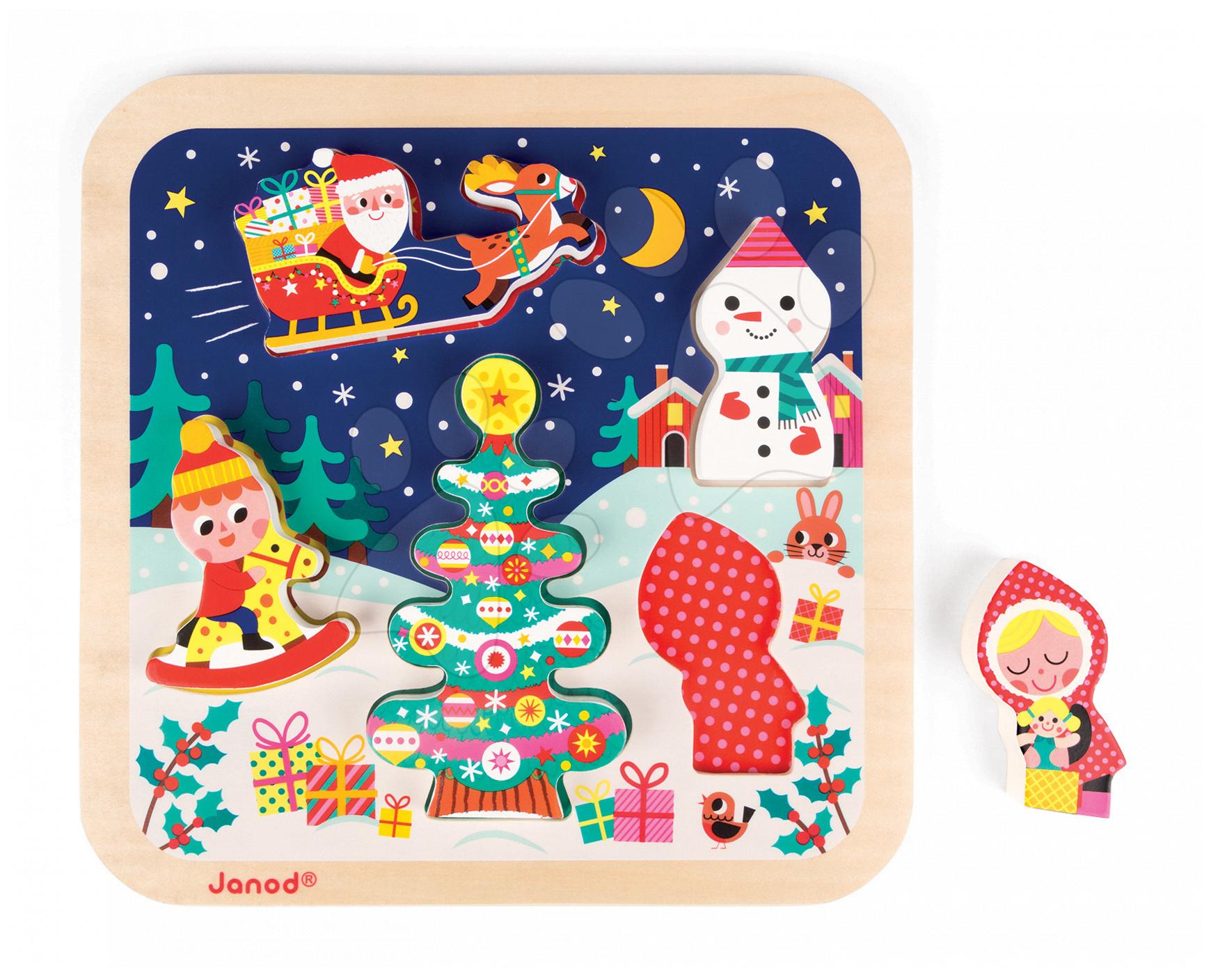 Dřevěné puzzle Kouzelné Vánoce Chunky Janod s 5 vkládacími figurkami od 18 měsíců