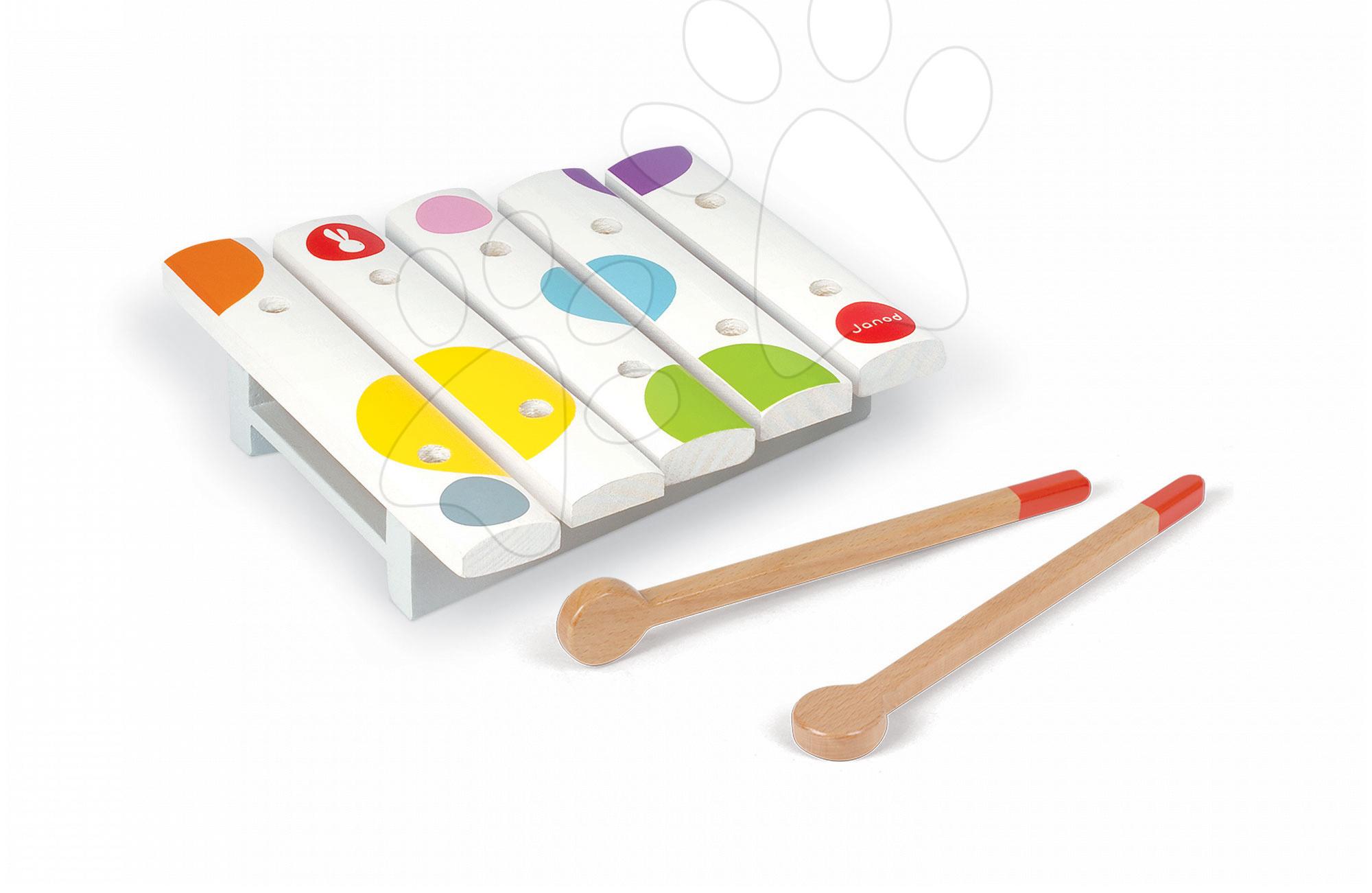 Detské hudobné nástroje - Drevený xylofón Confetti Mini Xylo Janod od 12 mes