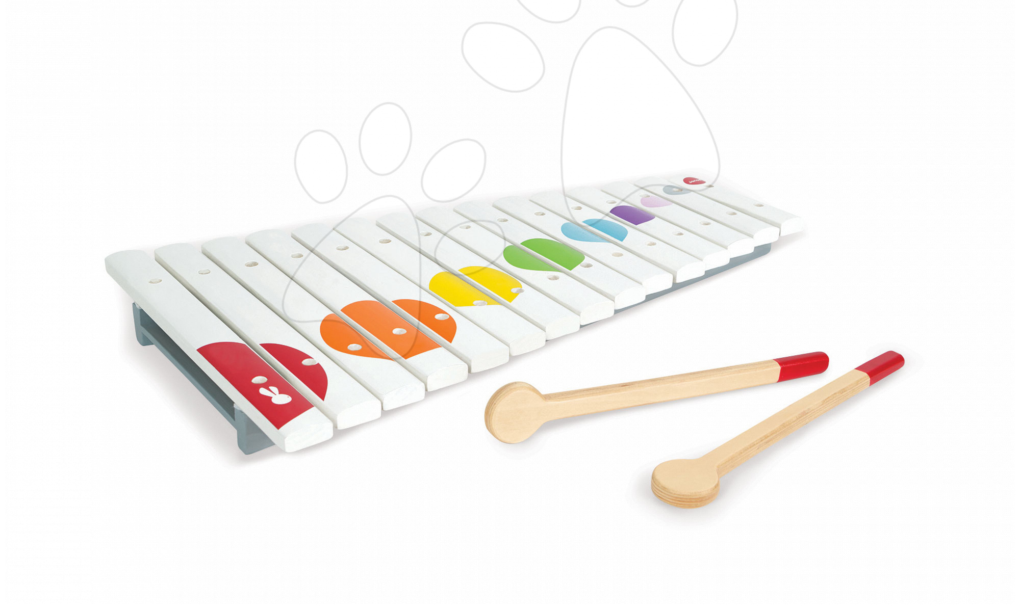 Detské hudobné nástroje - Veľký drevený xylofón Confetti Large Xylo Janod od 24 mes