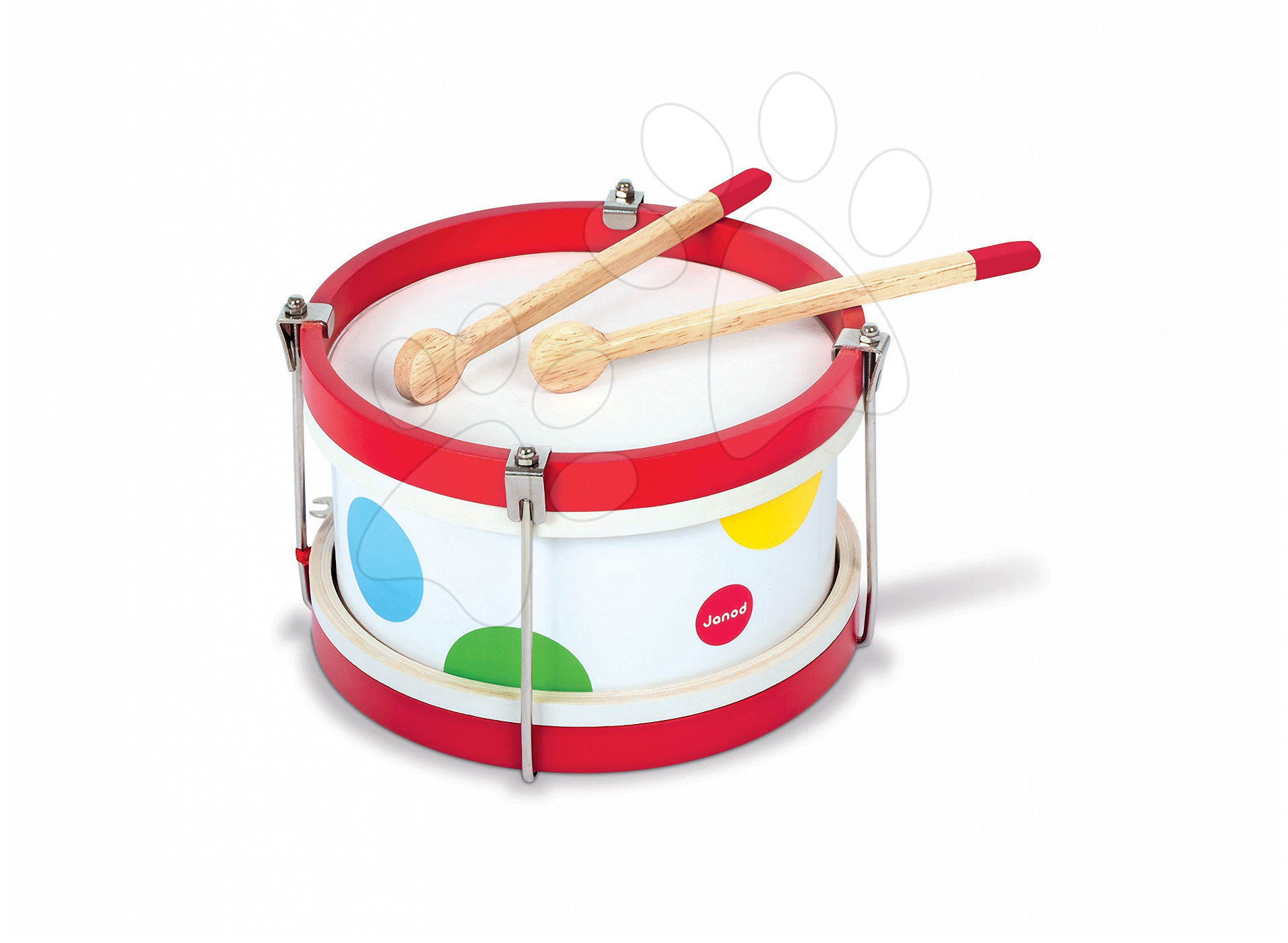 Detské hudobné nástroje - Drevený bubon Confetti Drum Janod od 24 mes